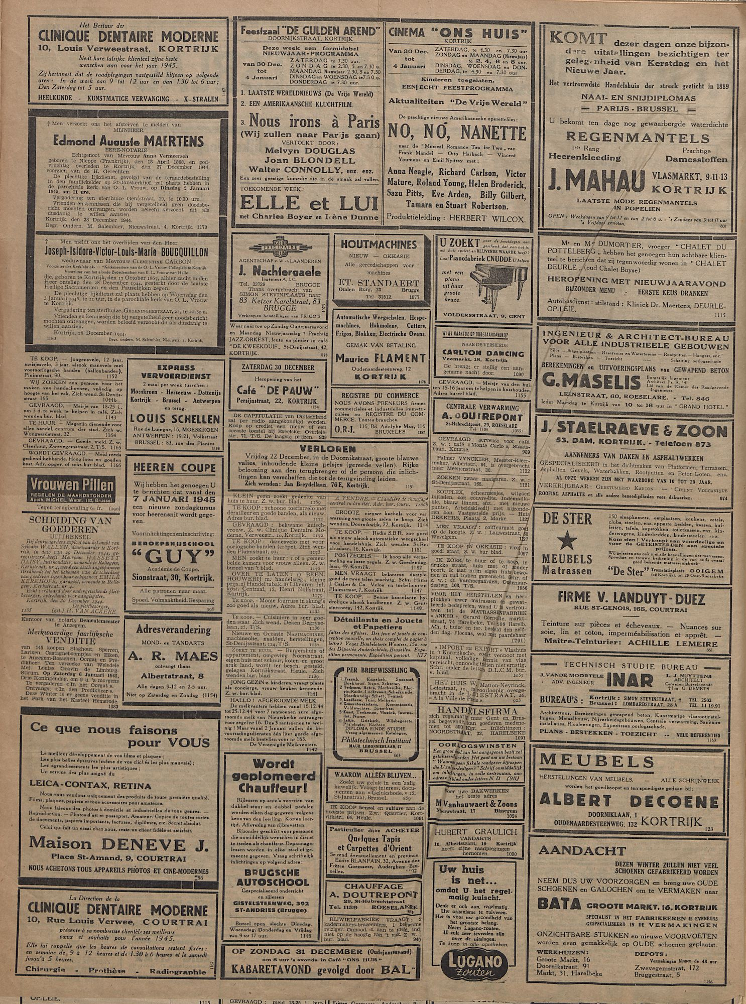 Kortrijksch Handelsblad 30 december 1944 Nr19 p2