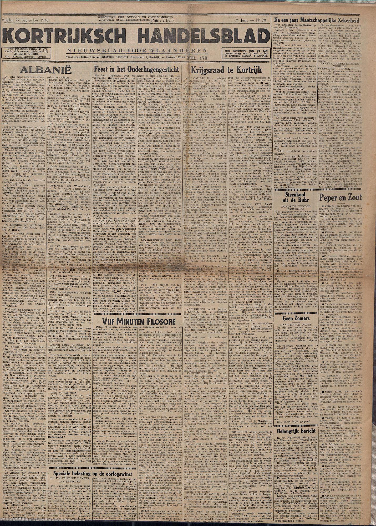 Kortrijksch Handelsblad 27 september 1946 Nr78 p1