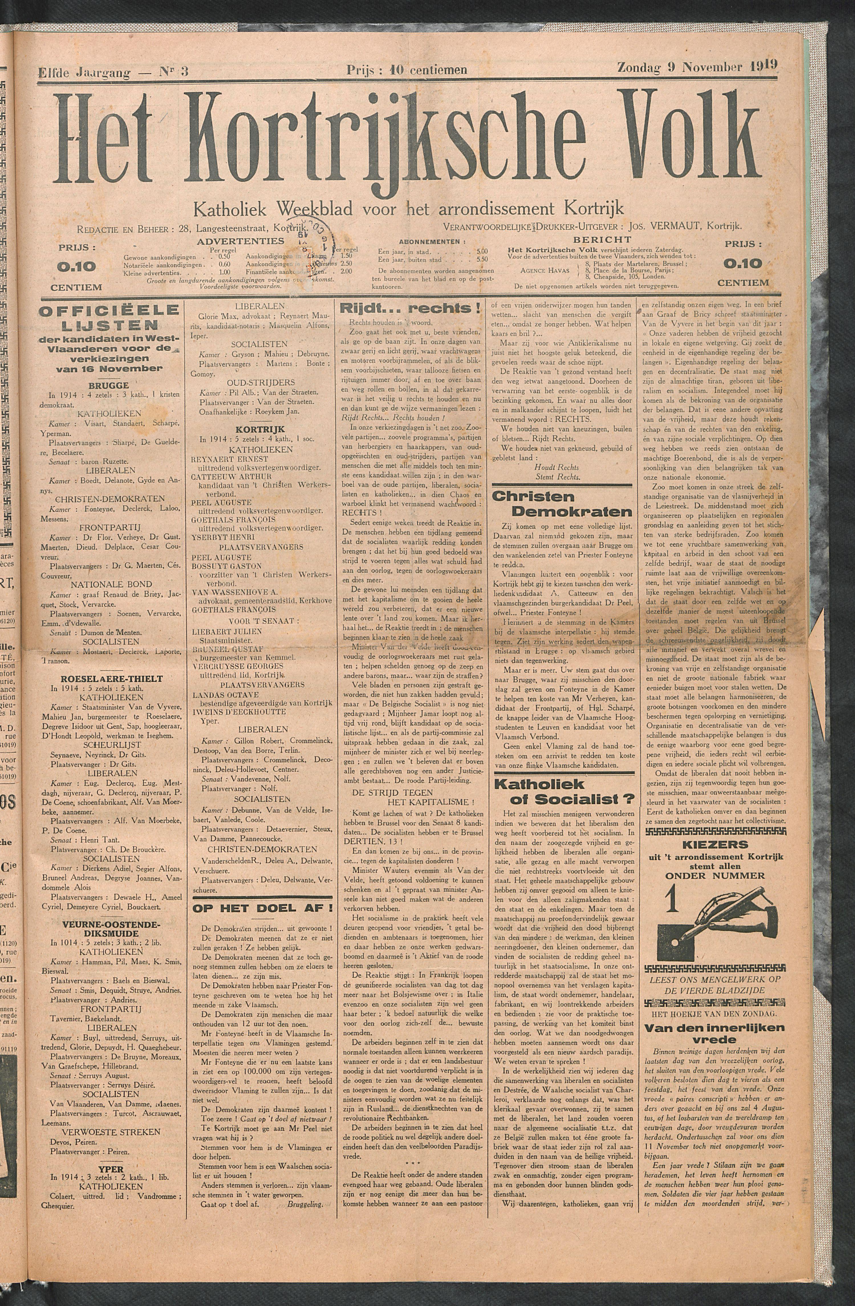 Het Kortrijksche Volk 1919-11-09 p1