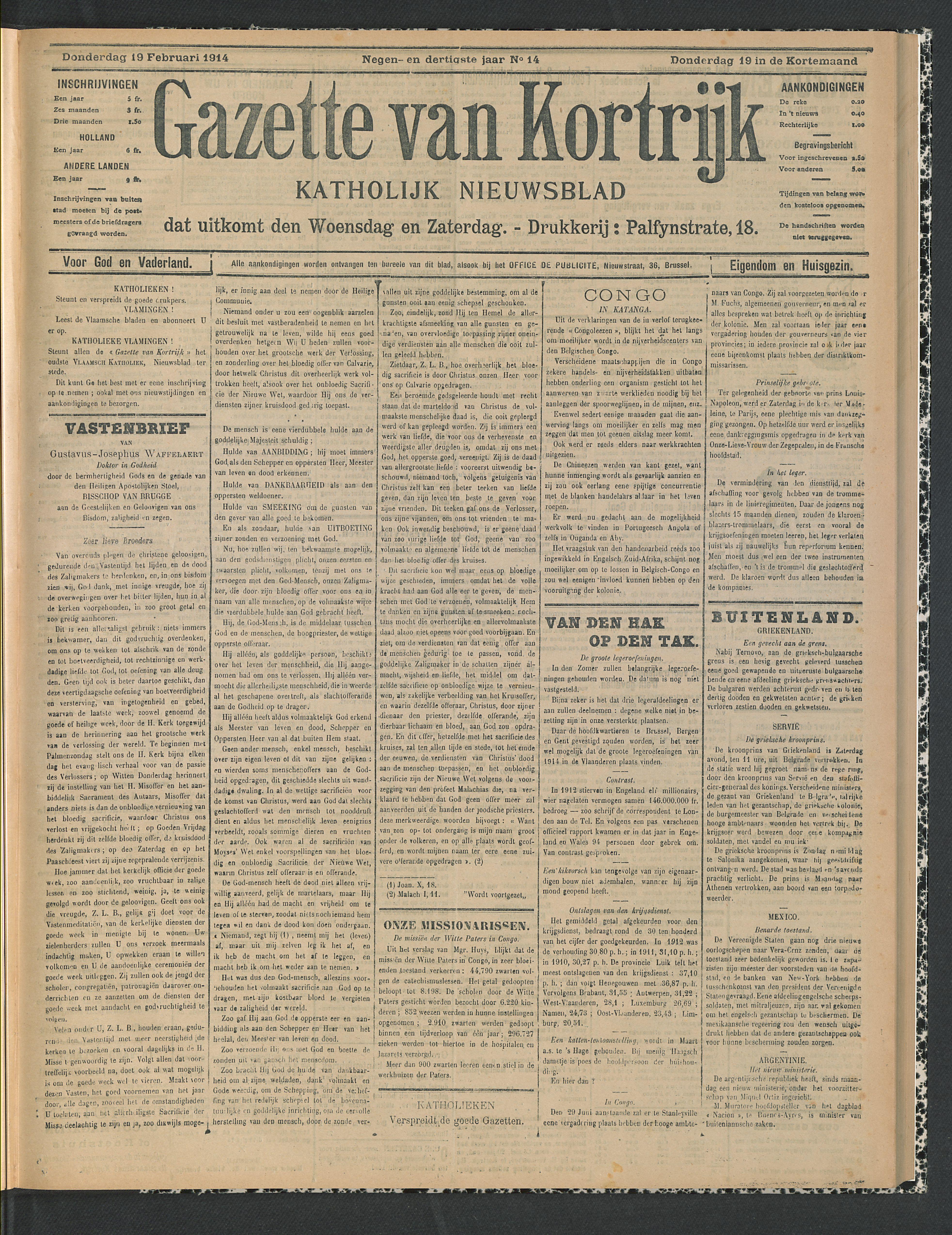 Gazette Van Kortrijk 1914-02-19 p1