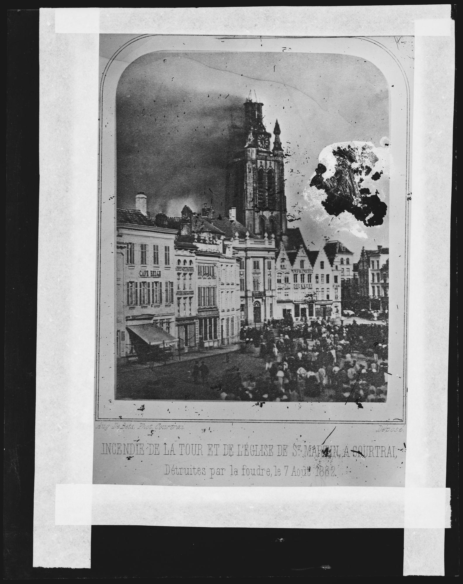 Grote Markt en Sint-Maartenskerk na bliksemsinlag van 1862