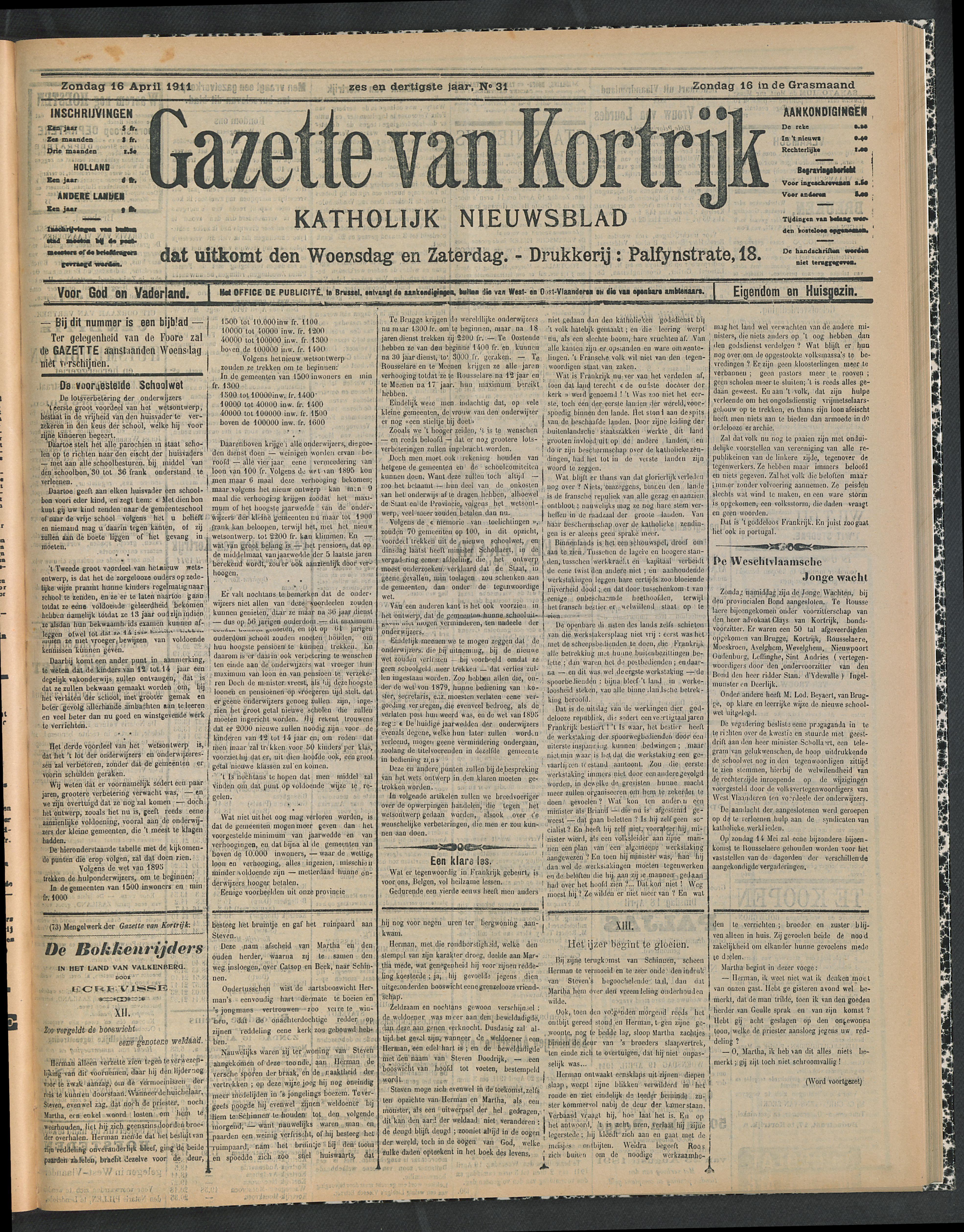 Gazette Van Kortrijk 1911-04-16 p1