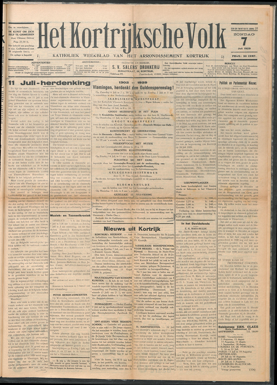 Het Kortrijksche Volk 1929-07-07 p1