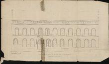 Bouwplannen i.v.m. de restauratie van de voorgevel van het stadhuis van Kortrijk, opgemaakt door P. Corquison en Jos Viérin, 1856-1939