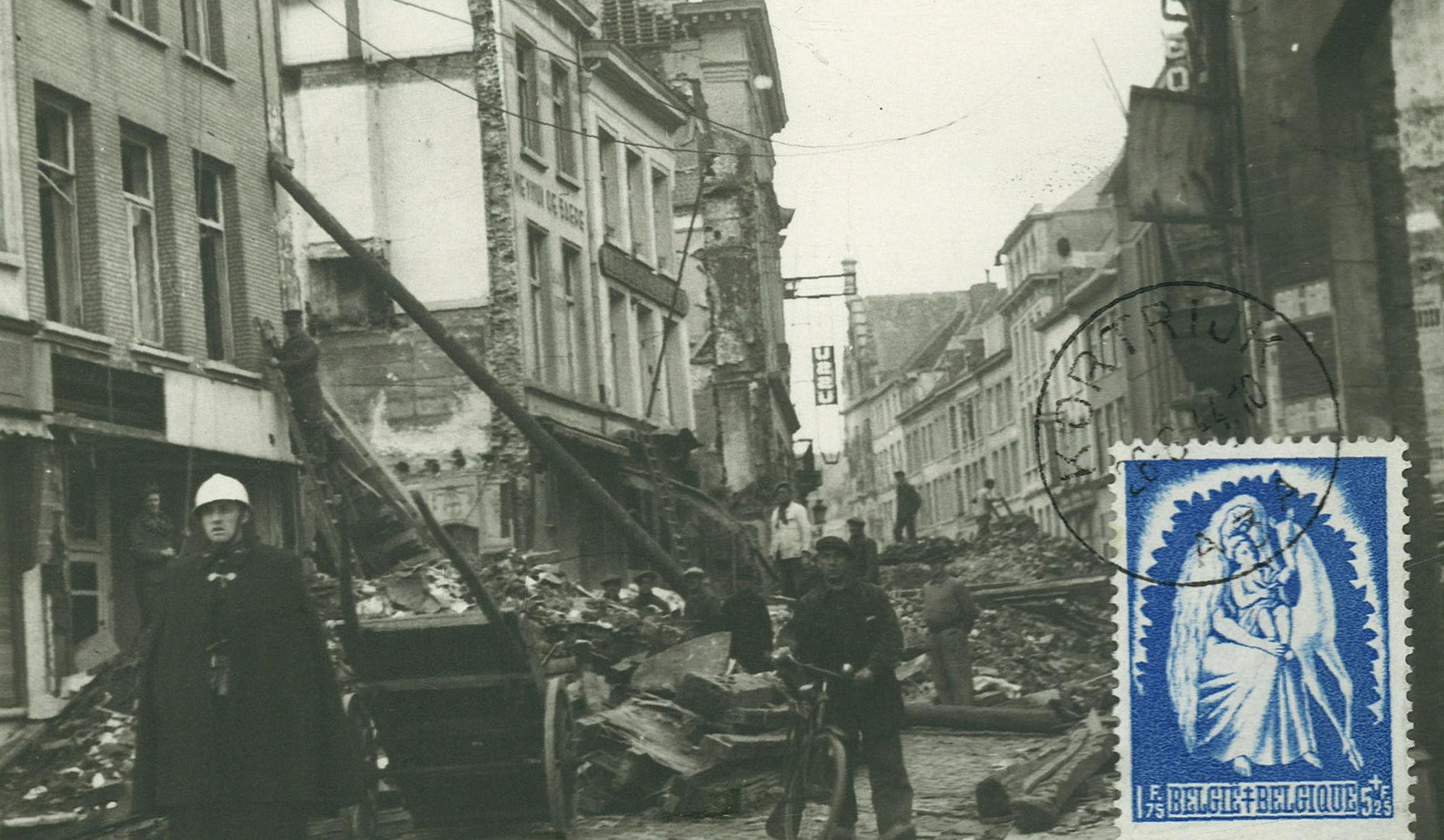 Puinen in de Leiestraat in 1944.