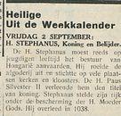 Heilige Uit de Weekkalender