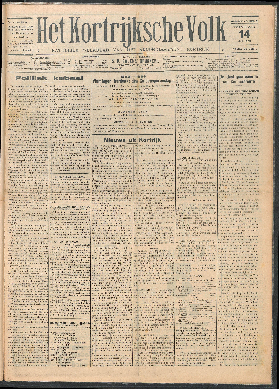Het Kortrijksche Volk 1929-07-14 p1