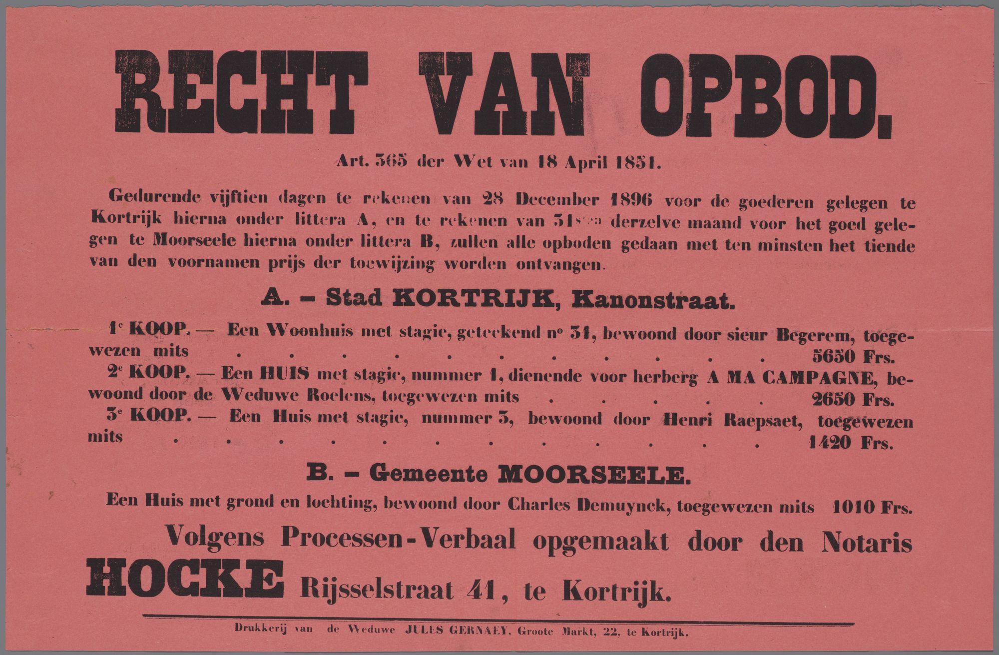 Verkoop van woonhuizen te Kortrijk en Moorsele 1896