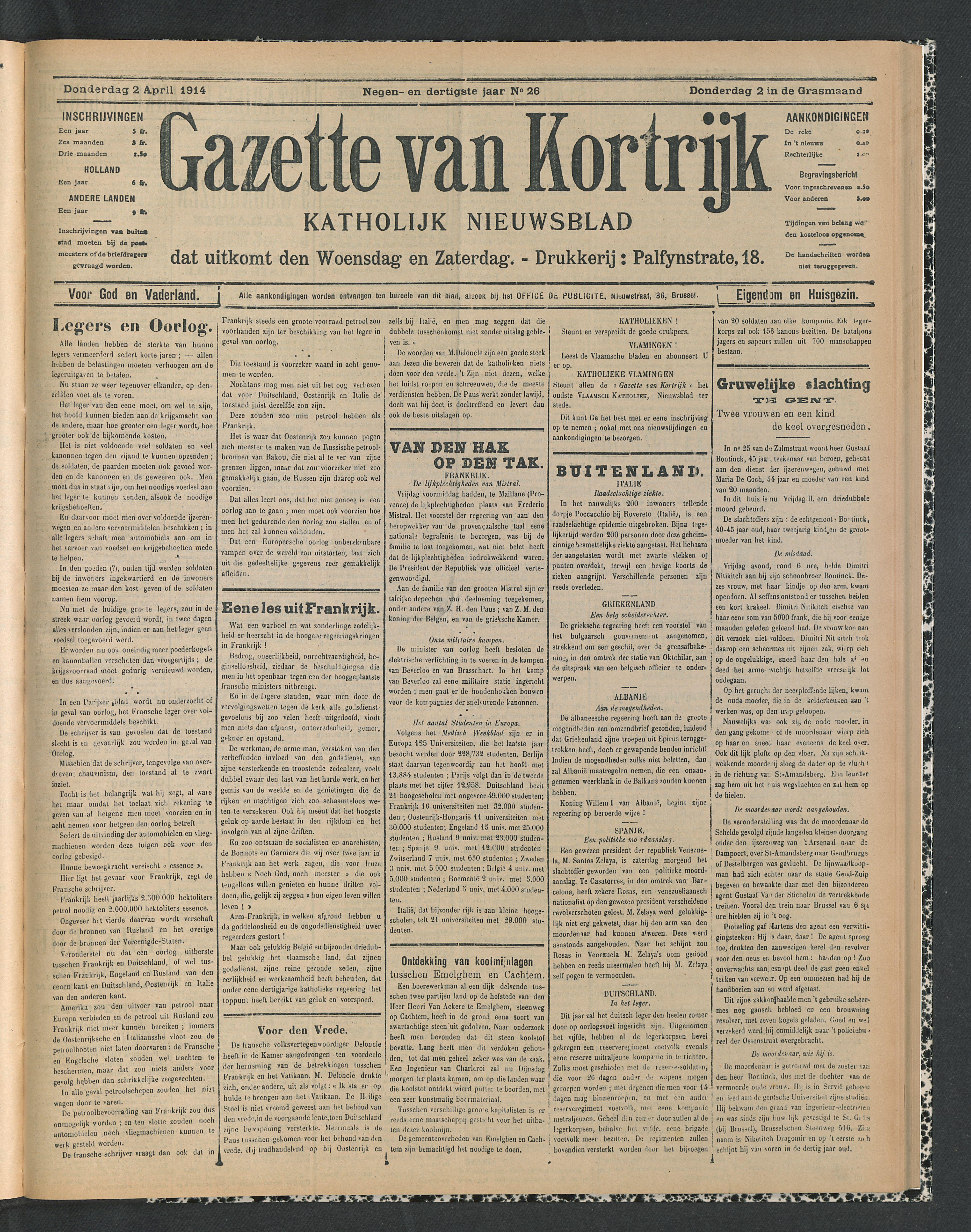 Gazette Van Kortrijk 1914-04-02 p1