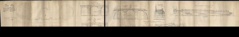 Plattegronden i.v.m. herstellingen aan de Broelbrug op de Leie te Kortrijk en de aanpalende kaaimuren die gedurende de vijandelijkheden waren vernield, 1922