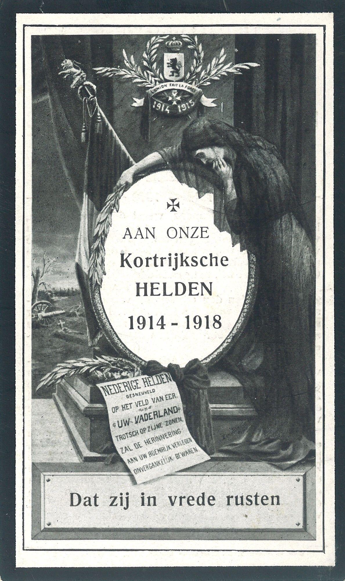 Gedachtenisprentje slachtoffers Wereldoorlog
