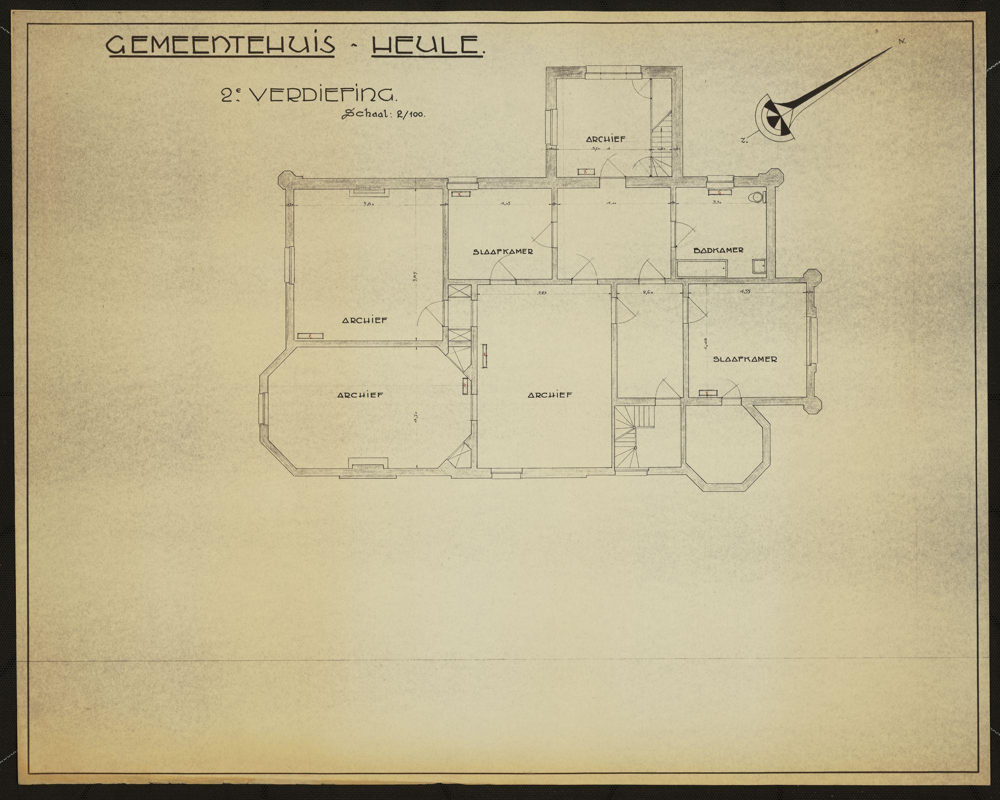 Bouwplannen van het gemeentehuis te Heule, 2de helft 20ste eeuw