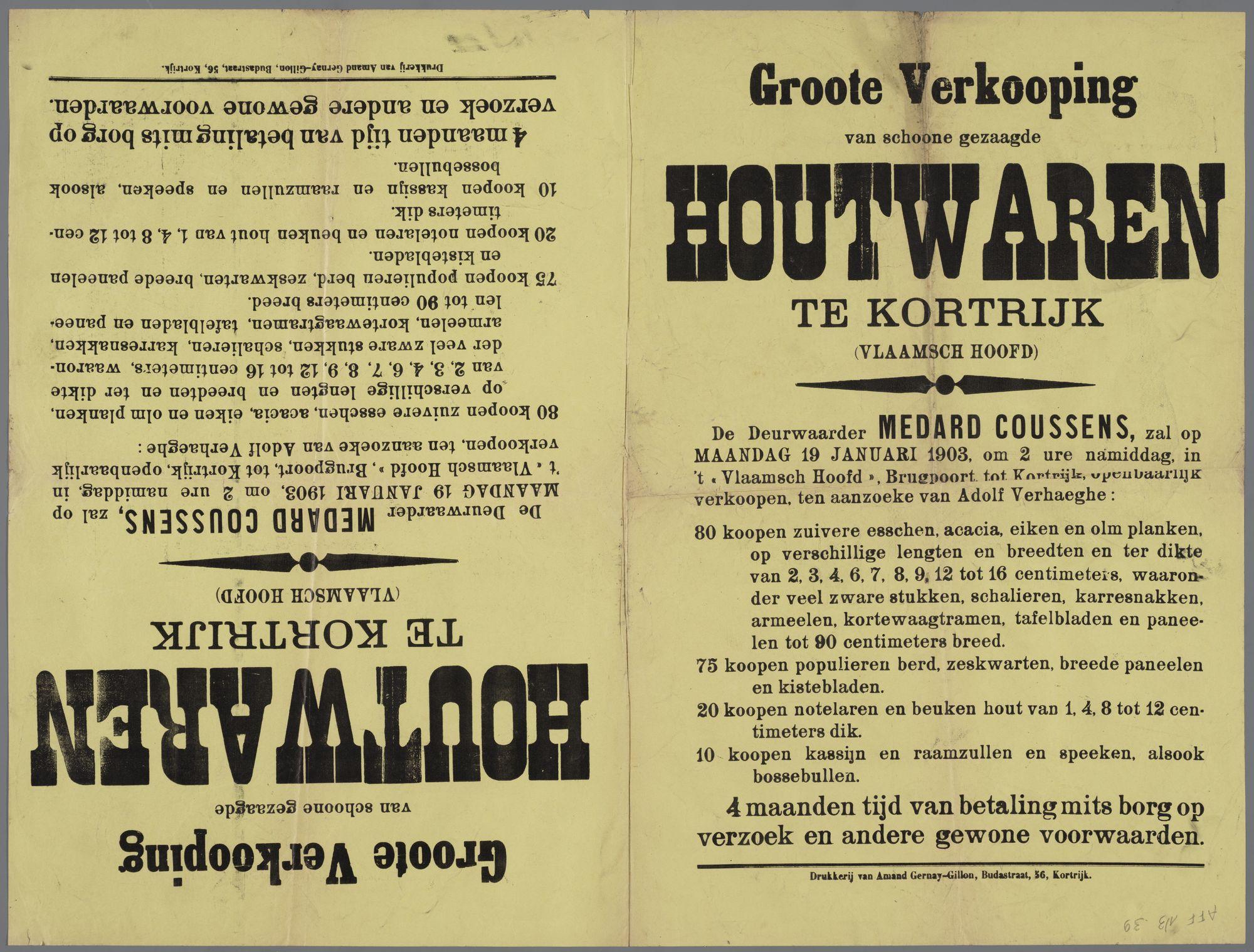 Verkoop van houtwaren 1903