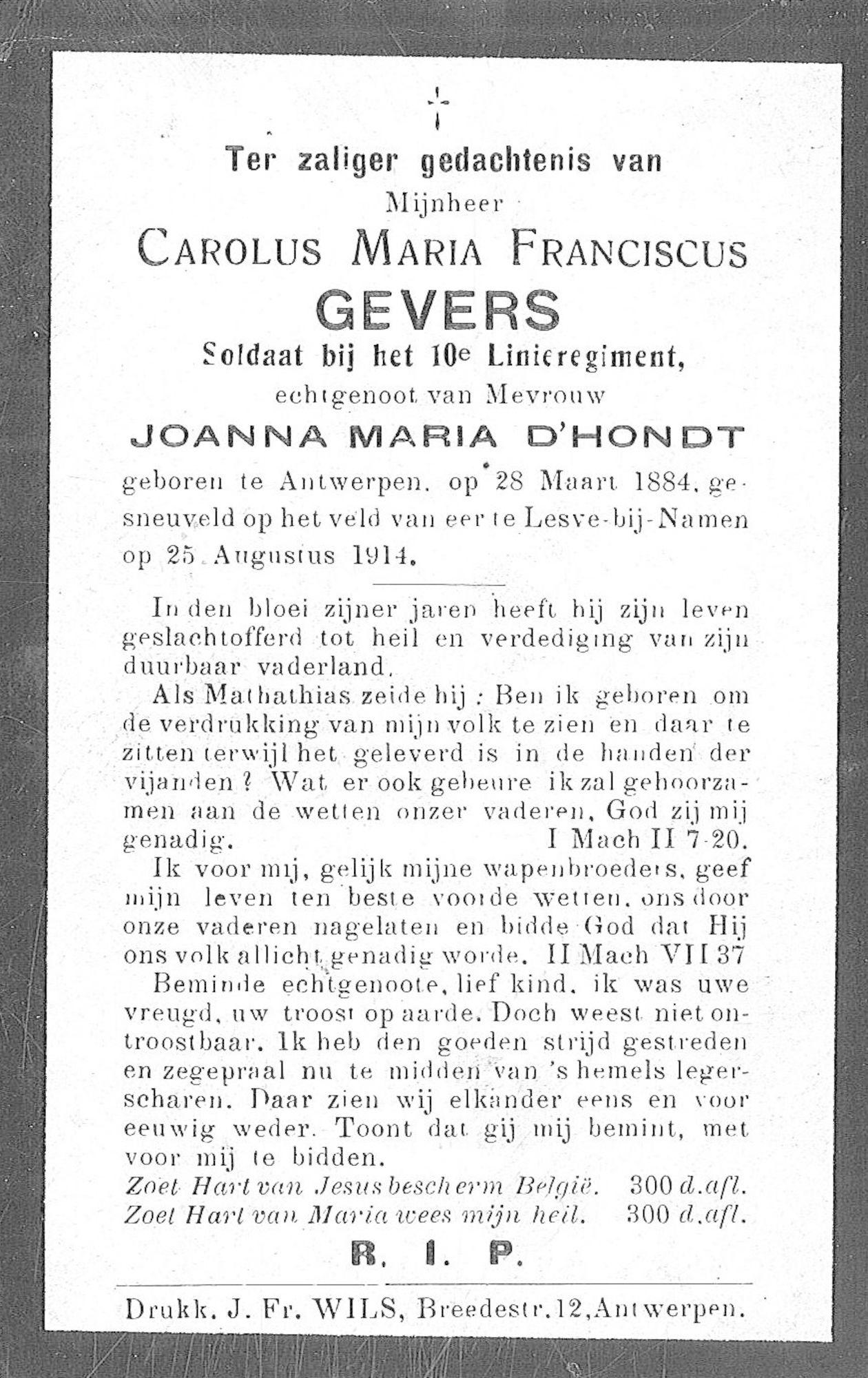 Carolus Maria Franciscus Gevers