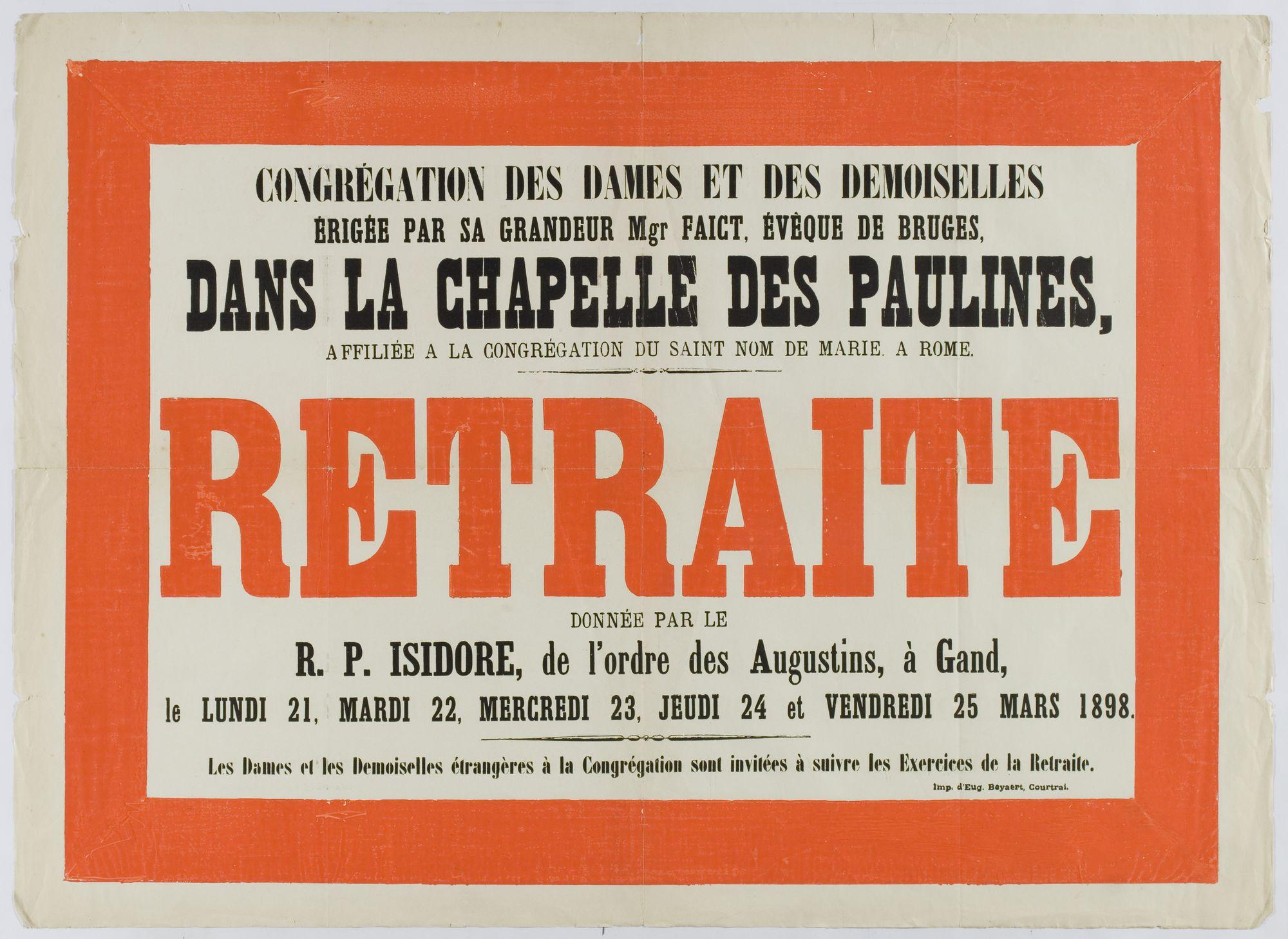 Retraite in de Kapel der Paulinen 1898