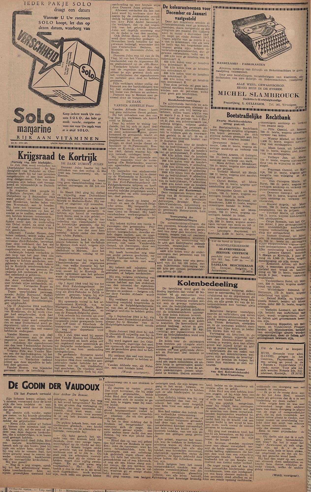 Kortrijksch Handelsblad 3 december 1946 Nr97 p4