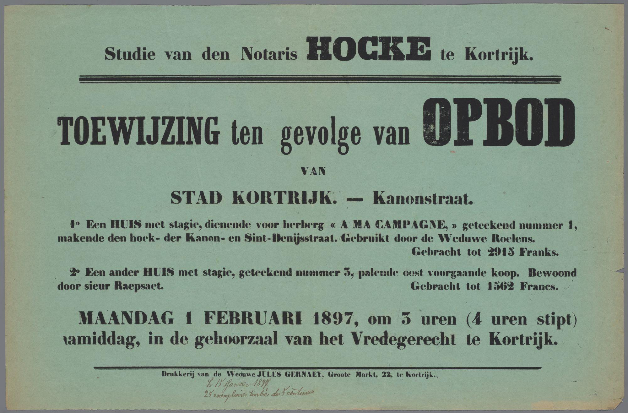 Toewijzing na opbod van woonhuizen te Kortrijk 1897