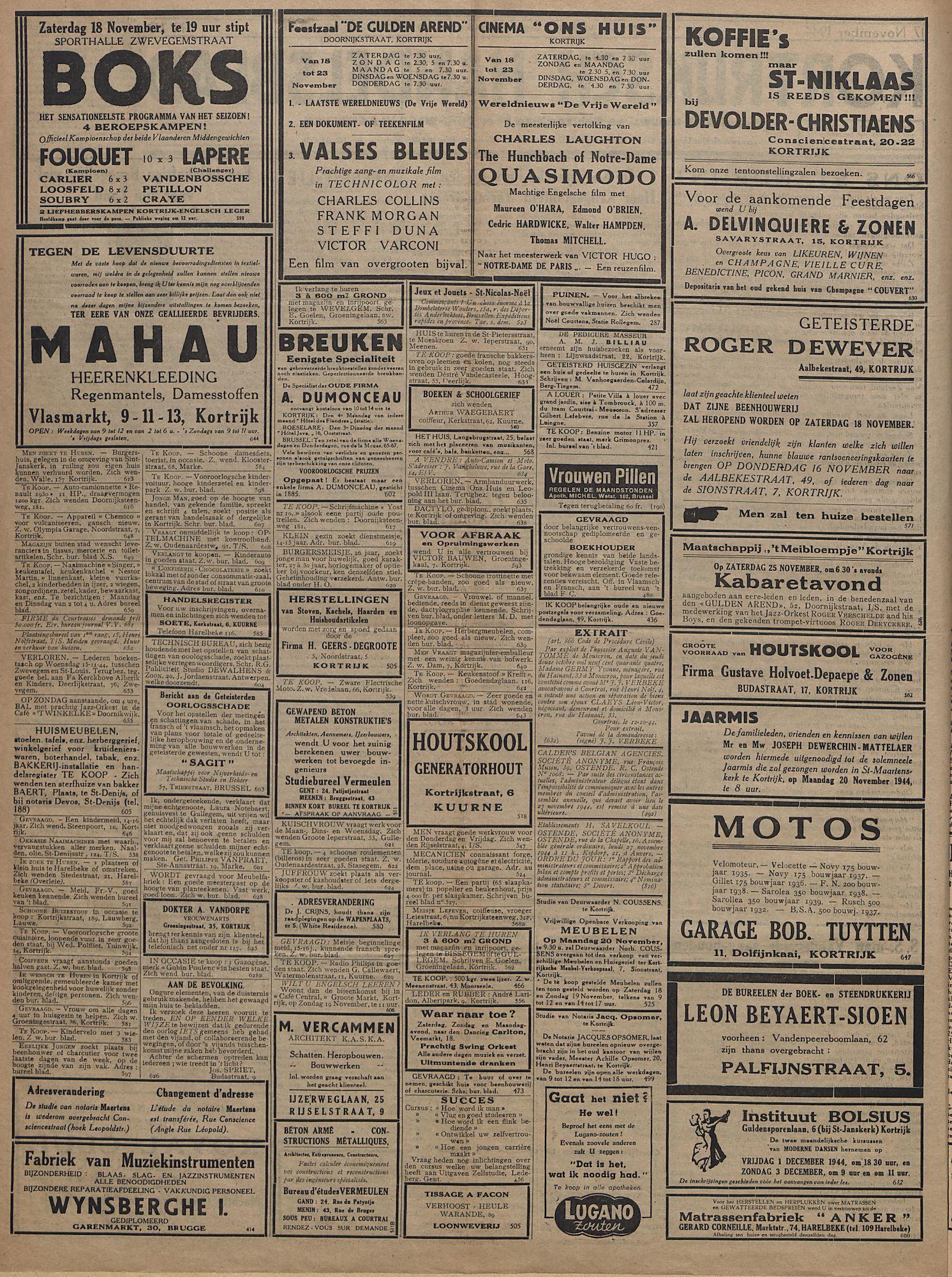 Kortrijksch Handelsblad 17 november 1944 Nr10 p2