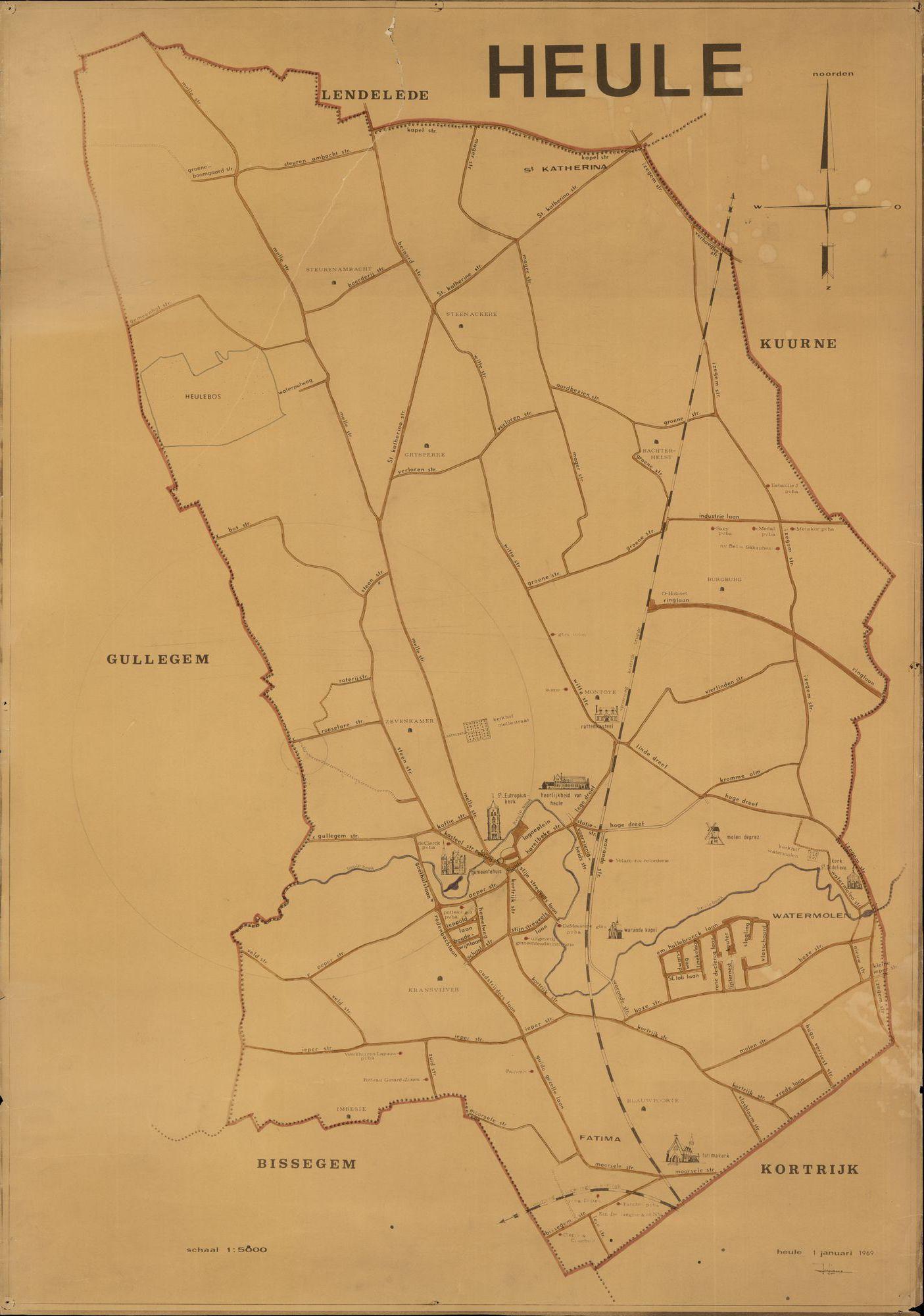 Kaart van Heule, 1969