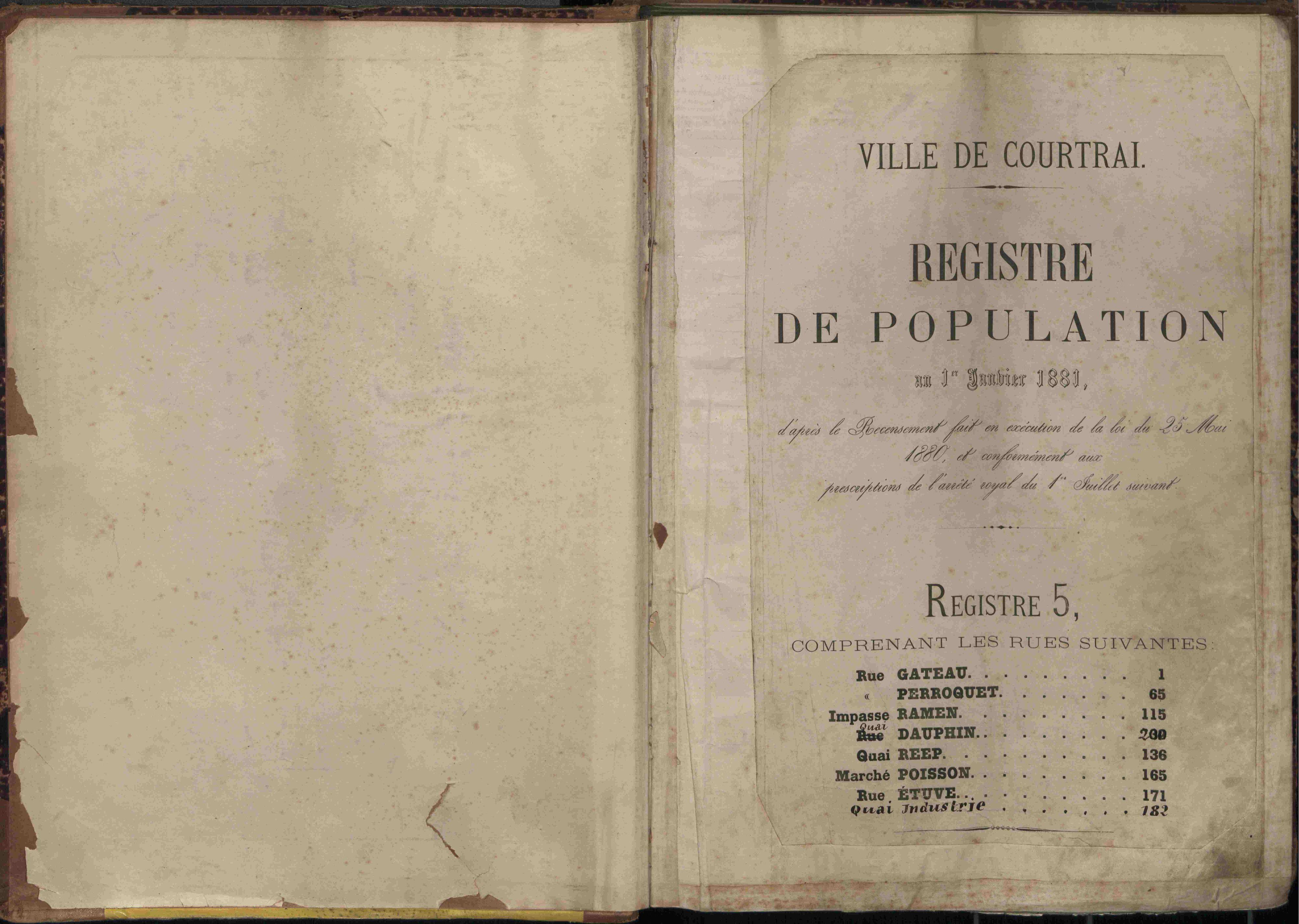 Bevolkingsregister Kortrijk 1880 boek 5