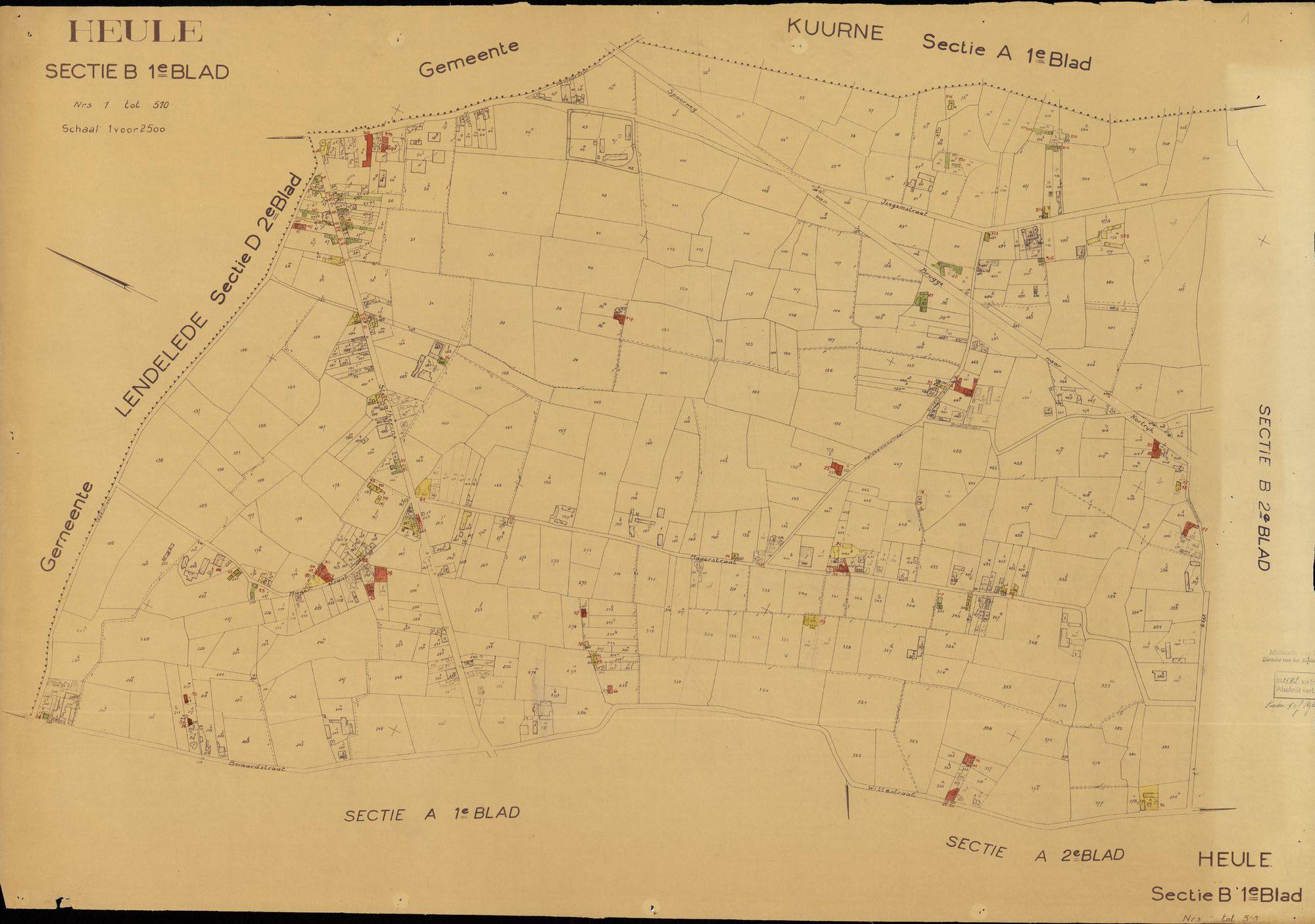 Kadastrale plattegrond van Heule, 1963
