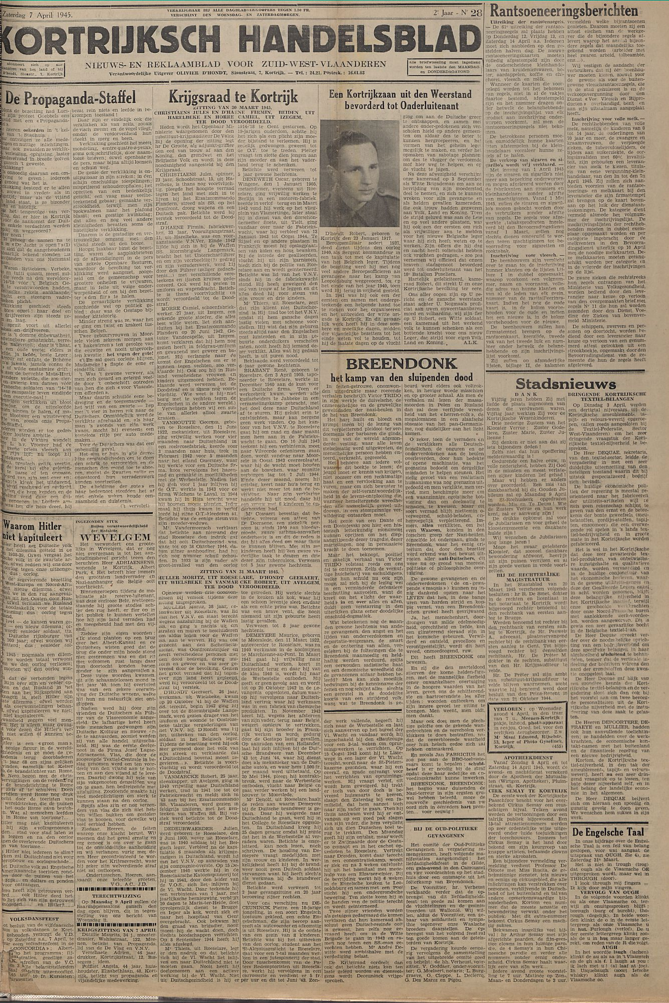Kortrijksch Handelsblad 7 april 1945 Nr28 p1