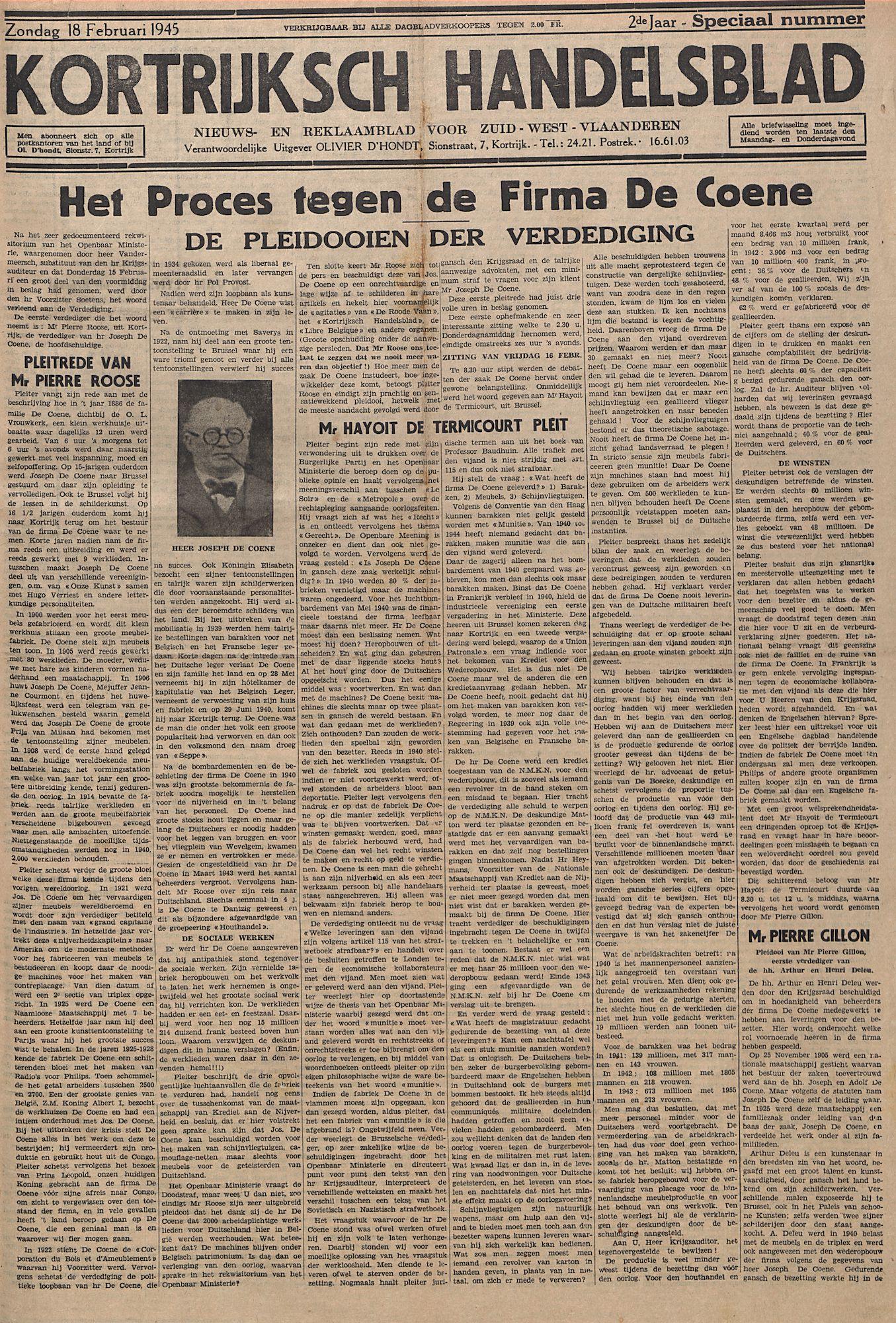 Kortrijksch Handelsblad 18 februari 1945 speciaal nummer p1