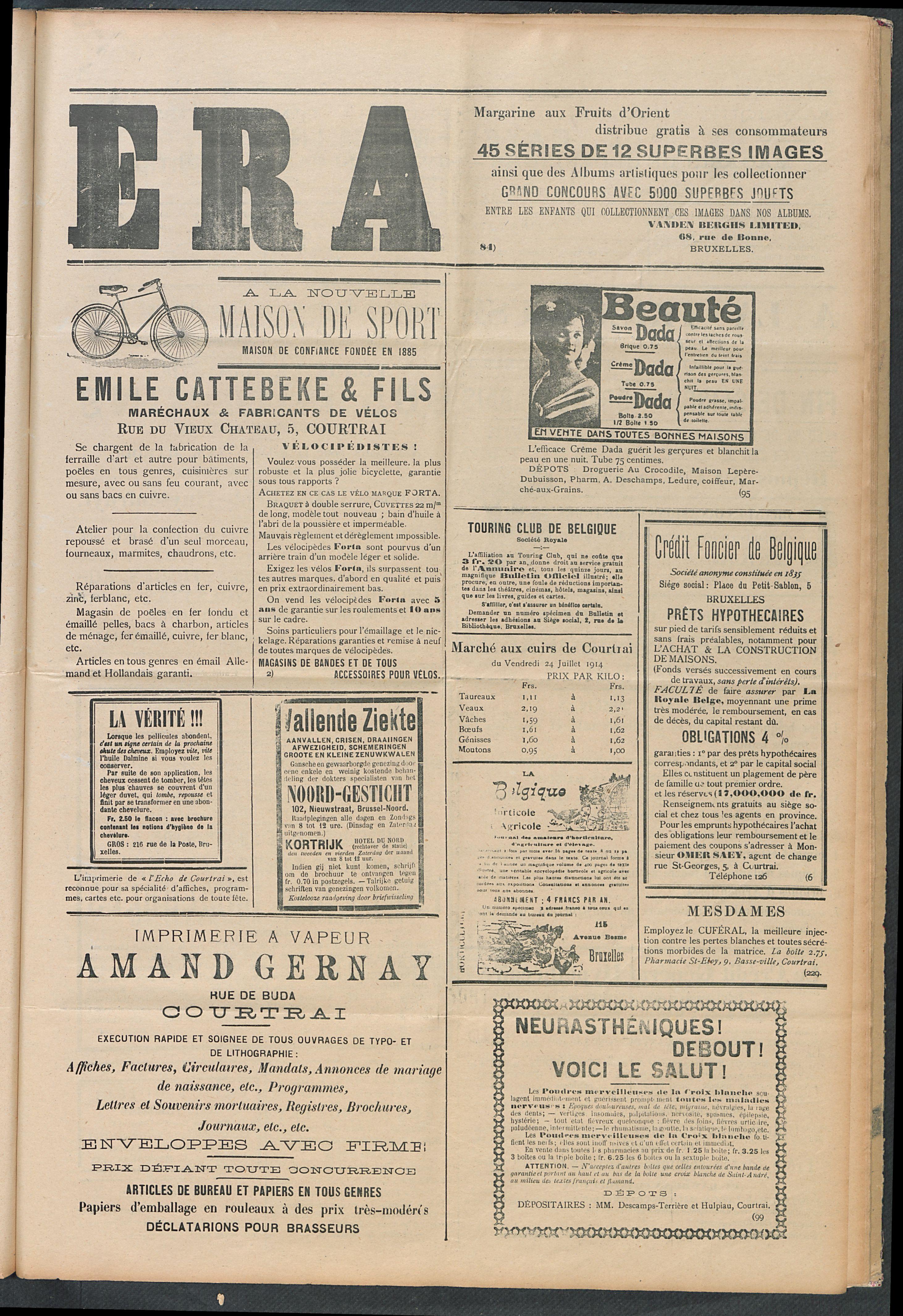 L'echo De Courtrai 1914-07-26 p5