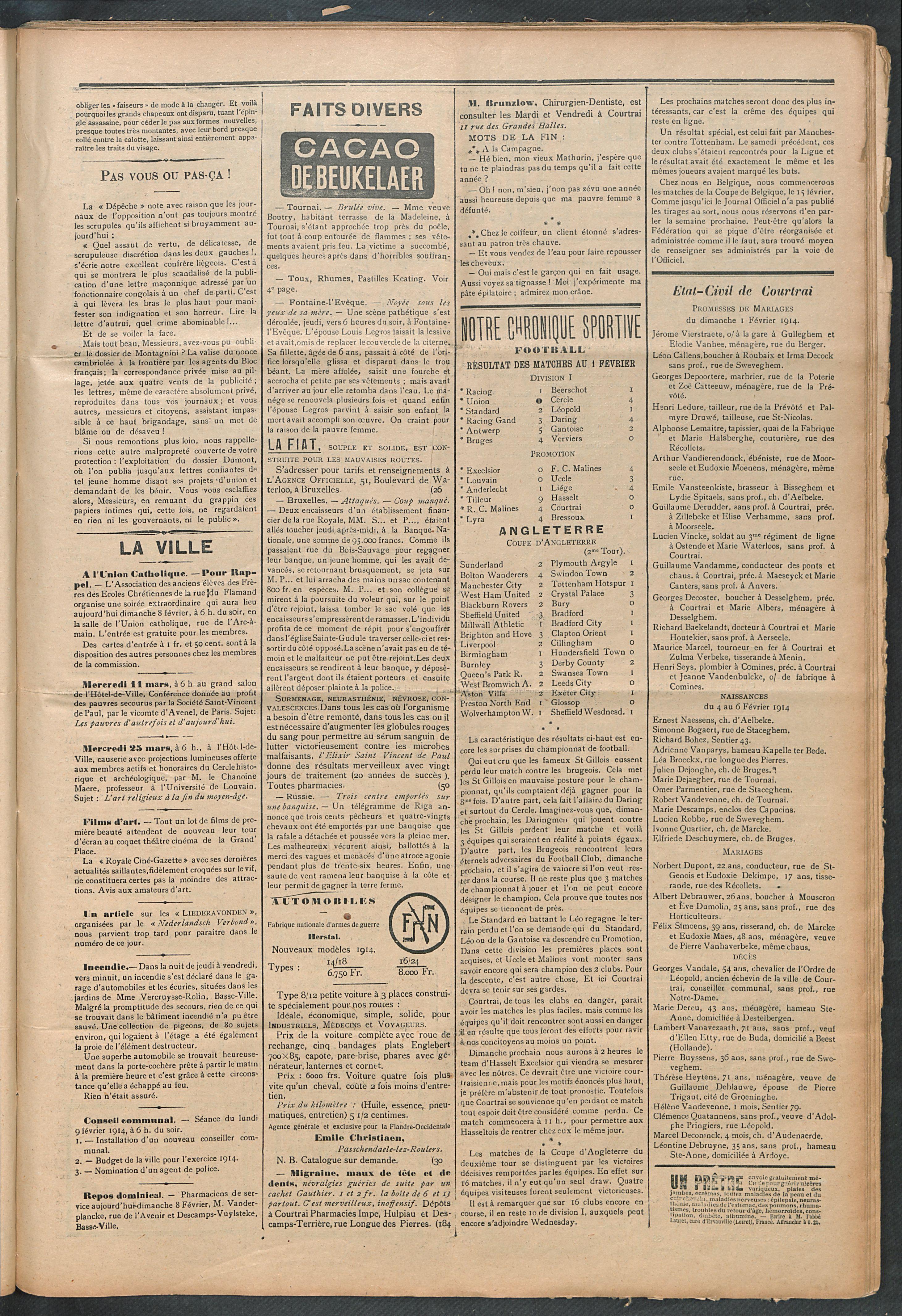 L'echo De Courtrai 1914-02-08 p3