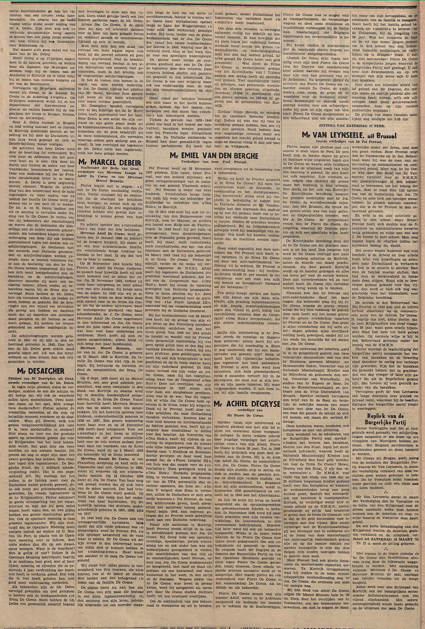 Kortrijksch Handelsblad 18 februari 1945 speciaal nr p2