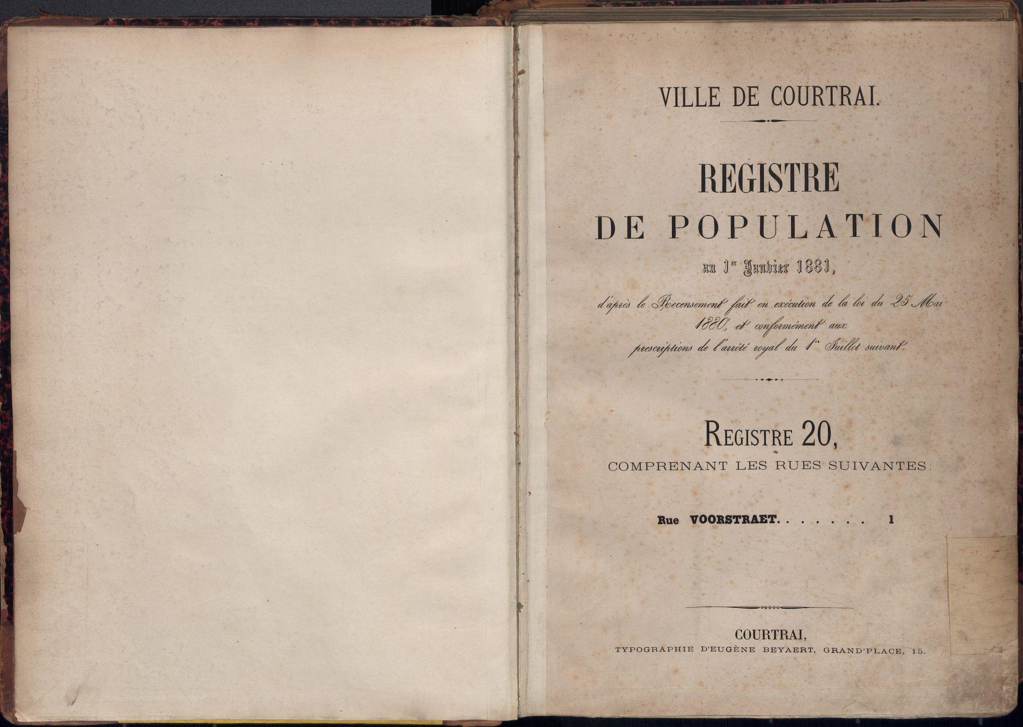 Bevolkingsregister Kortrijk 1880 boek 20