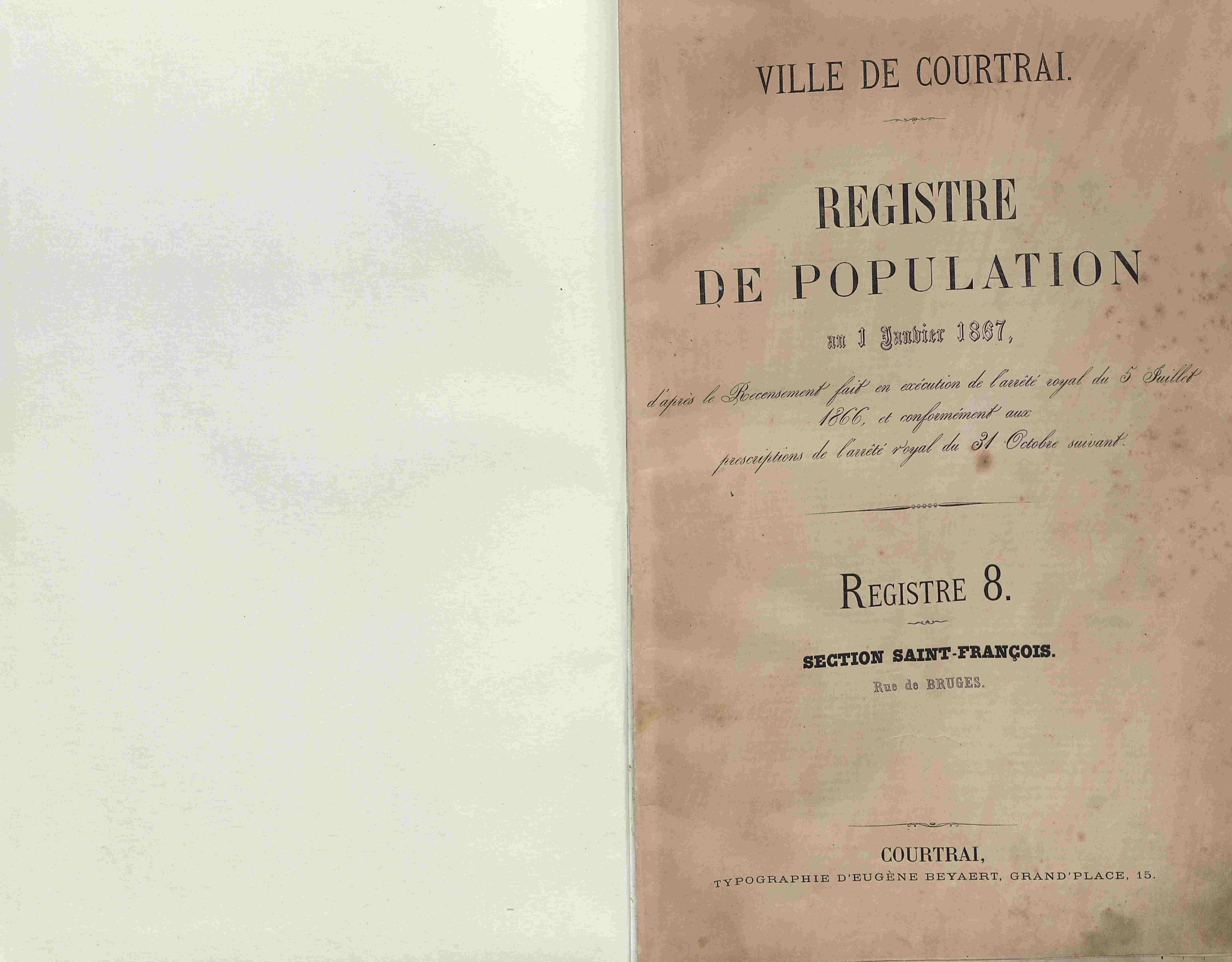Bevolkingsregister Kortrijk 1866 boek 8