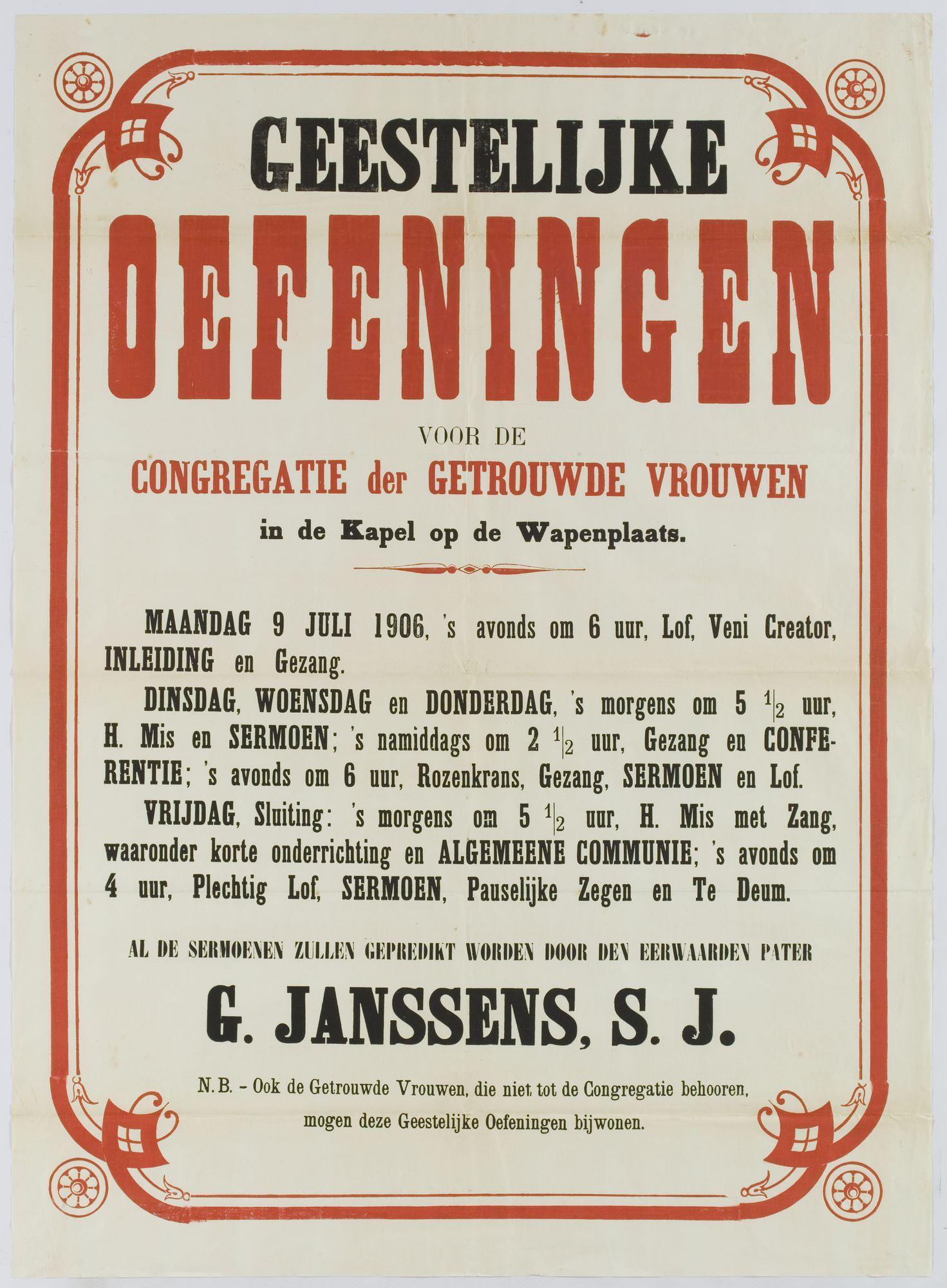 Plechtigheden Kongregatiekapel 1906