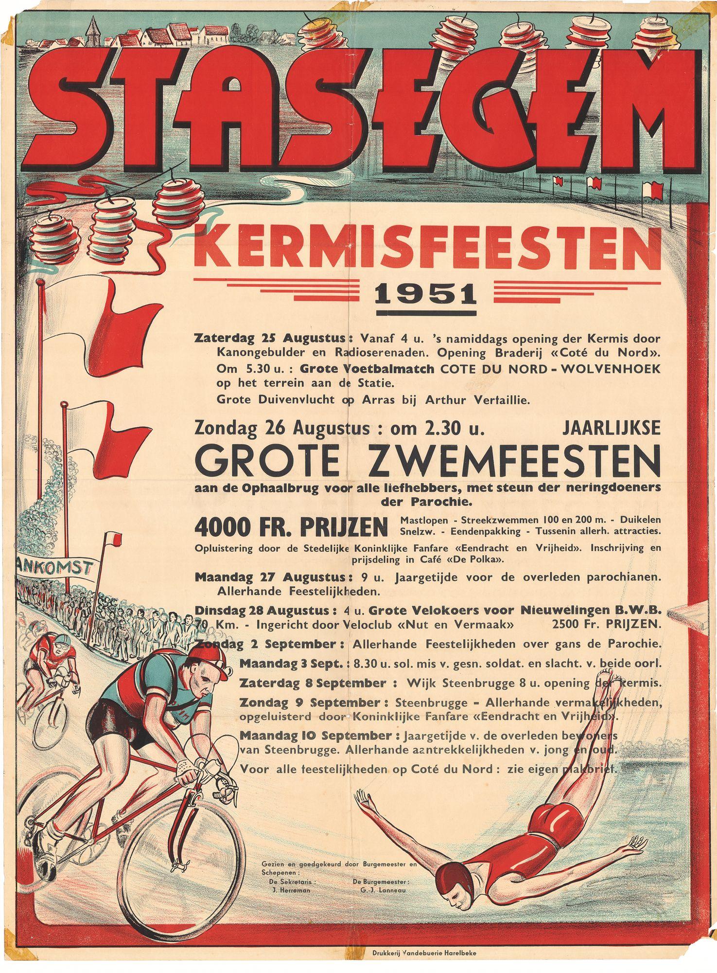 Zwemfeesten. Stasegem. Affiche 1951