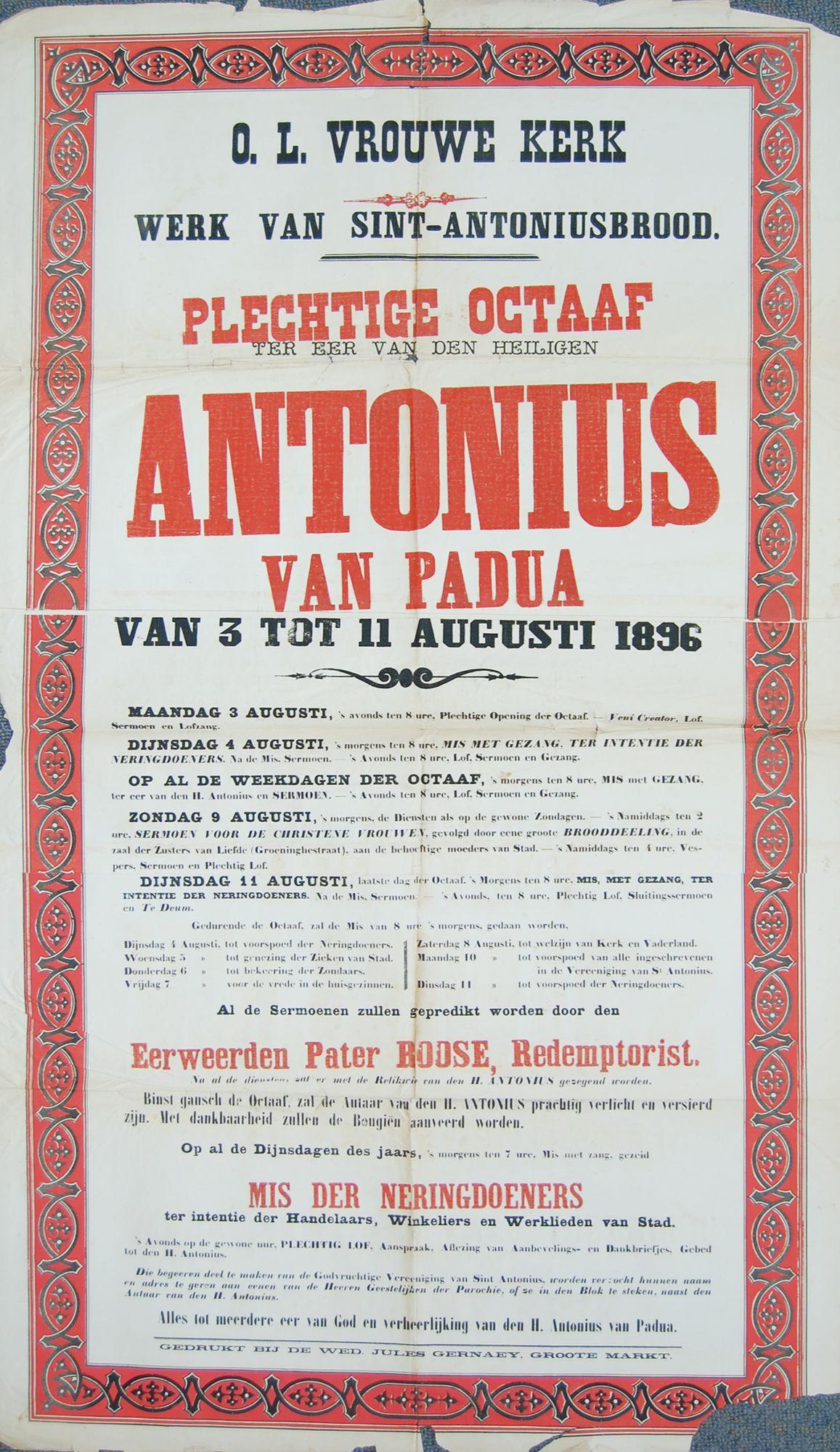 Plechtigheden O.-L.-Vrouwekerk 1896