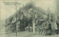 Prentkaart Lourdesgrot aan de Sint-Antoniuskerk