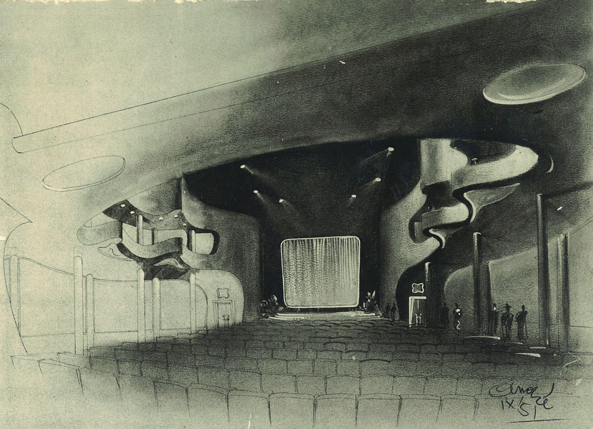 Tekening Ciné Palace interieur.