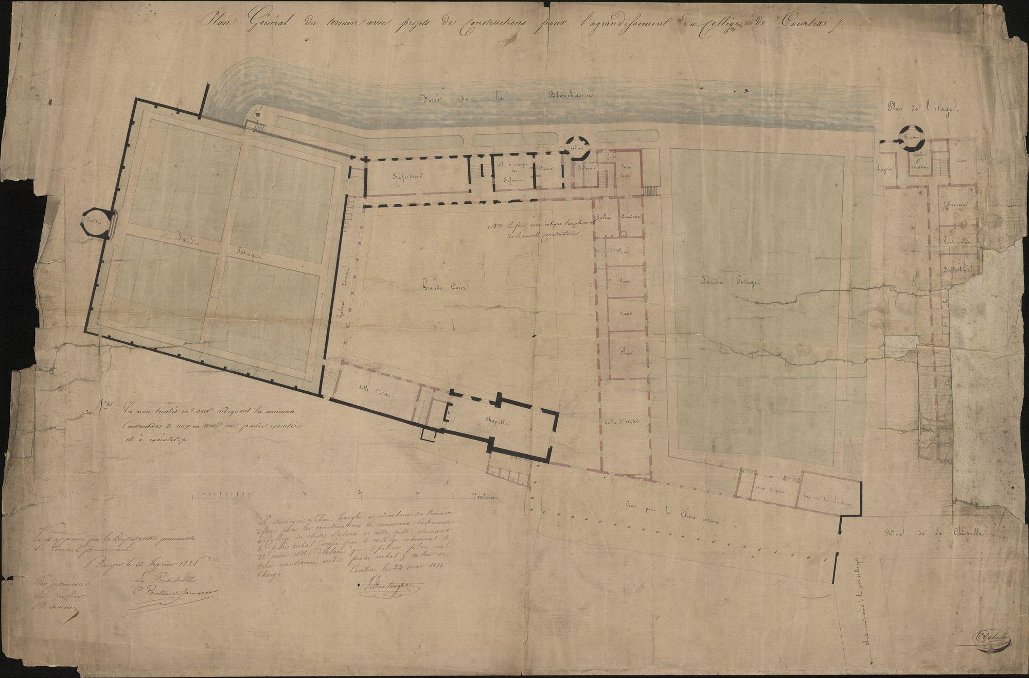 Plan met plattegrond van het Sint-Amandscollege te Kortrijk, ca. 1835.
