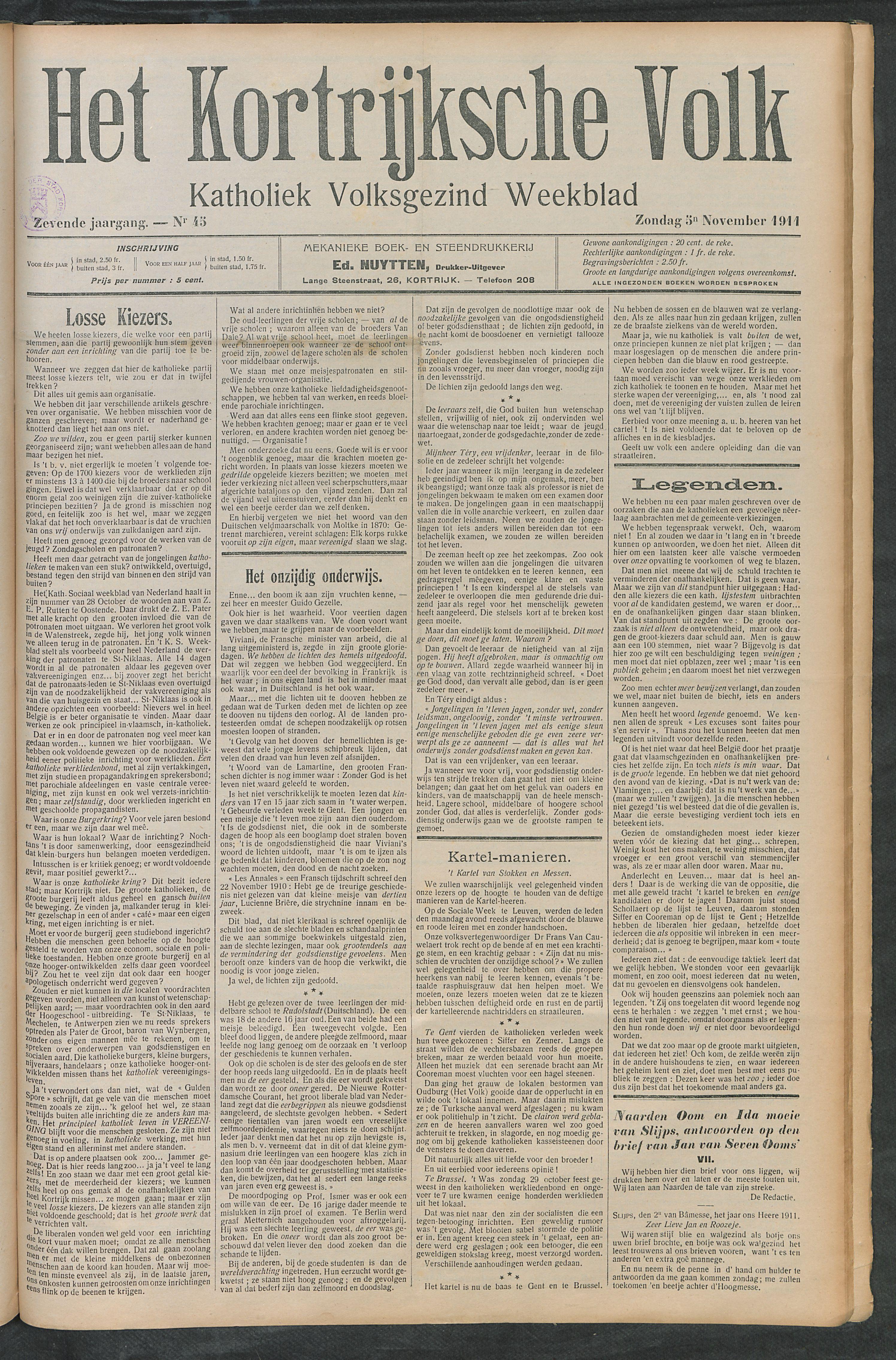 Het Kortrijksche Volk 1911-11-05 p1