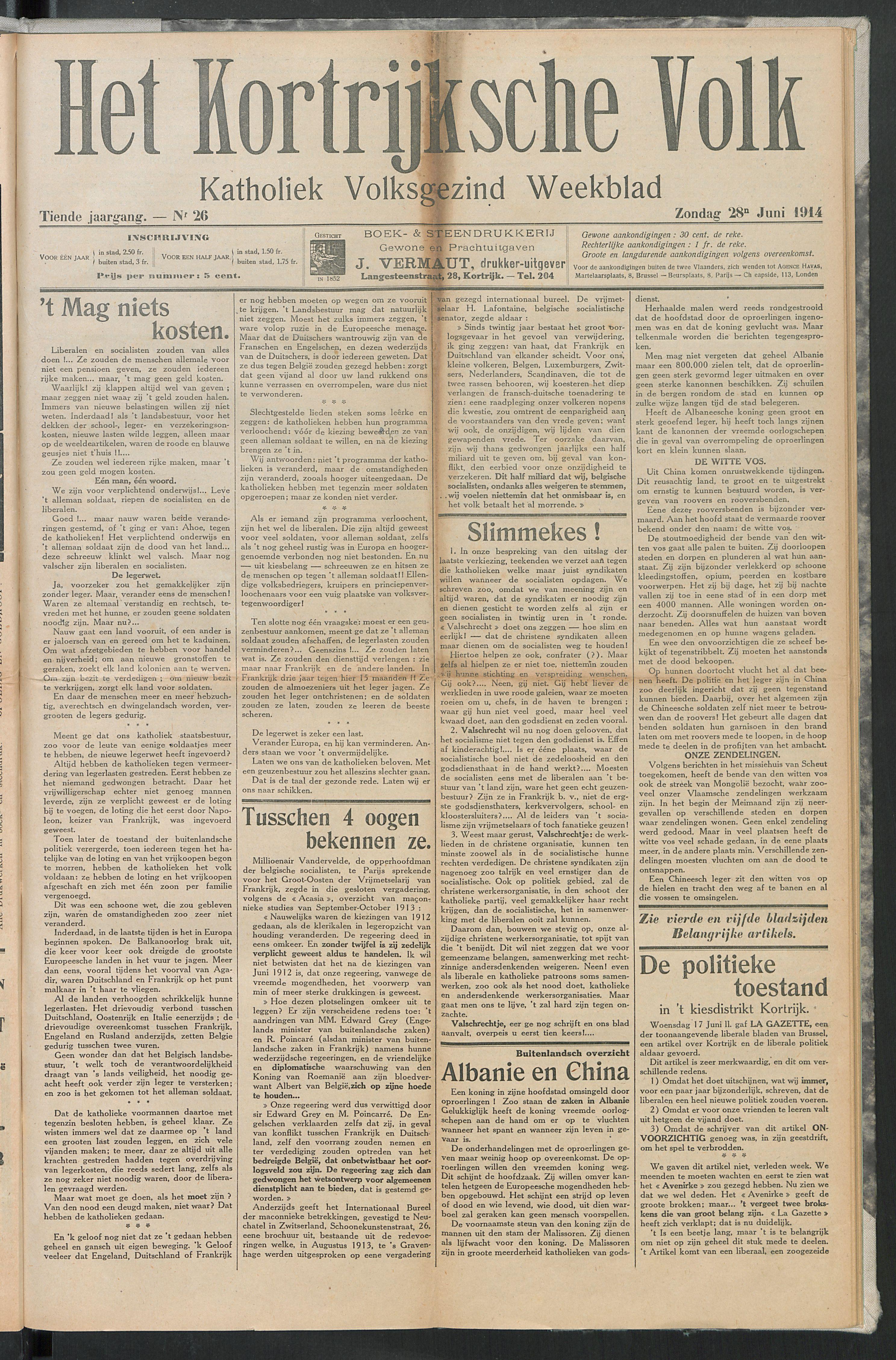 Het Kortrijksche Volk 1914-06-28 p1