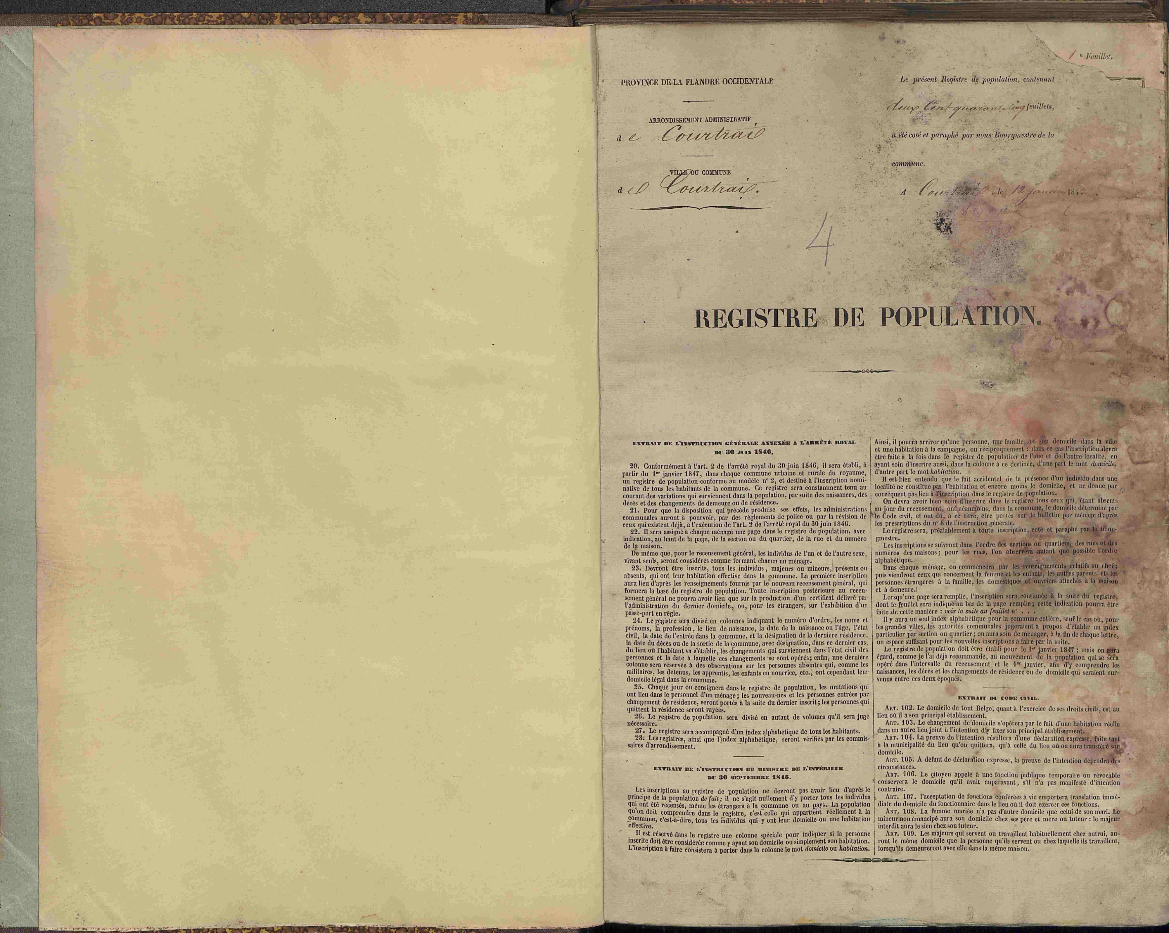 Bevolkingsregister Kortrijk 1846 boek 4