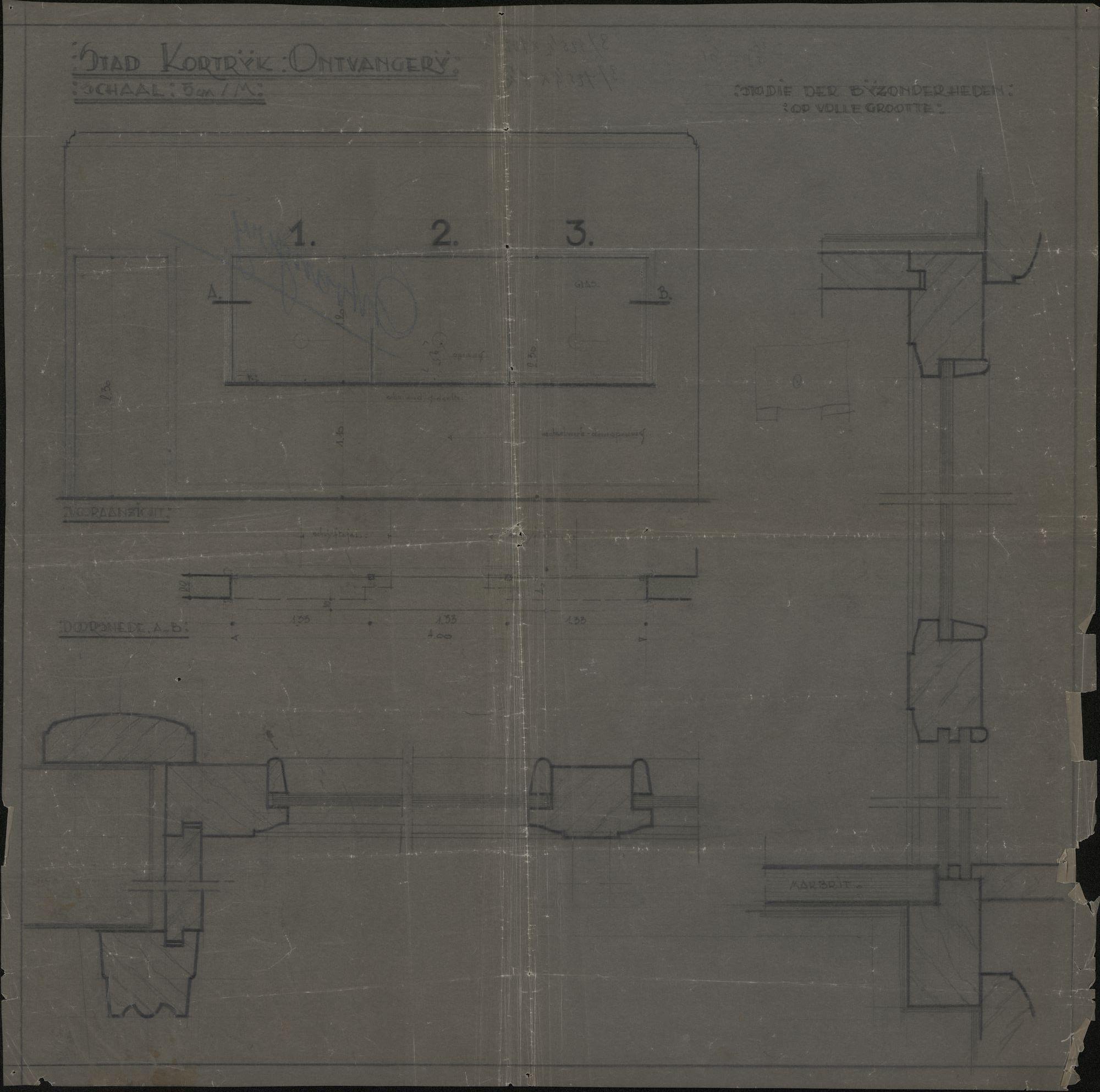 Bouwplan van de bouw van een ruimte in het stadhuis voor de ontvanger te Kortrijk, 19de-20ste eeuw