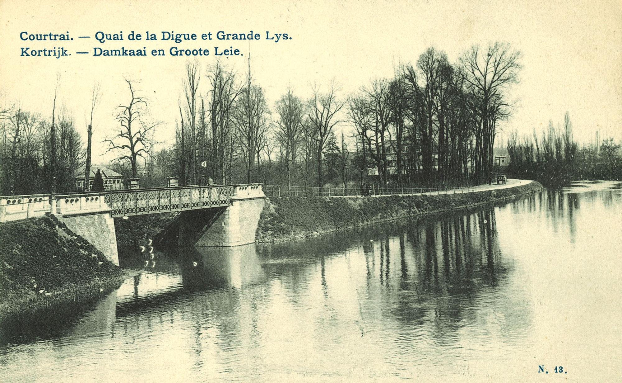 De Leie met brug over de Kleine Leie