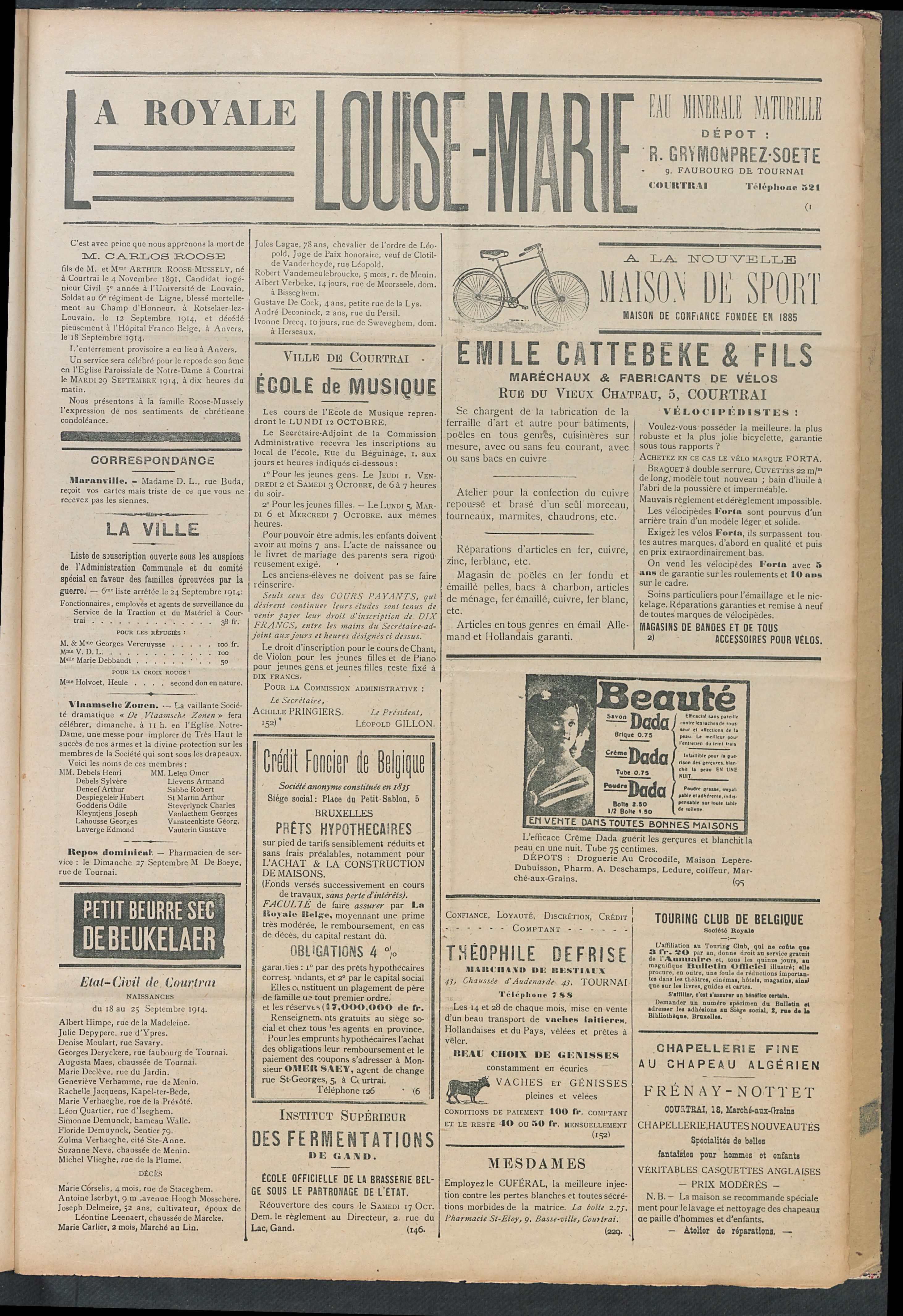 L'echo De Courtrai 1914-09-27 p3