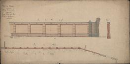 Bouwplannen van de nog bestaande muur met poort aan de westzijde van het Sint-Amandscollege te Kortrijk, 1878