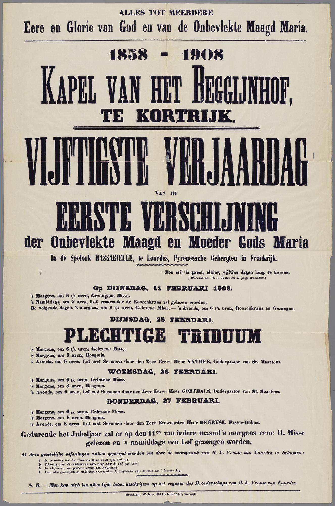 Plechtigheden Begijnhof 1908