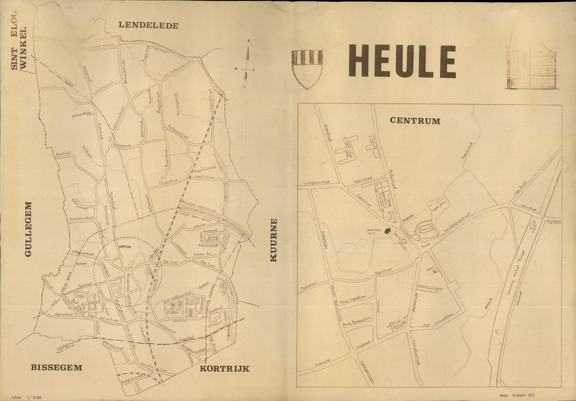 Kaart van Heule, 2de helft 20ste eeuw