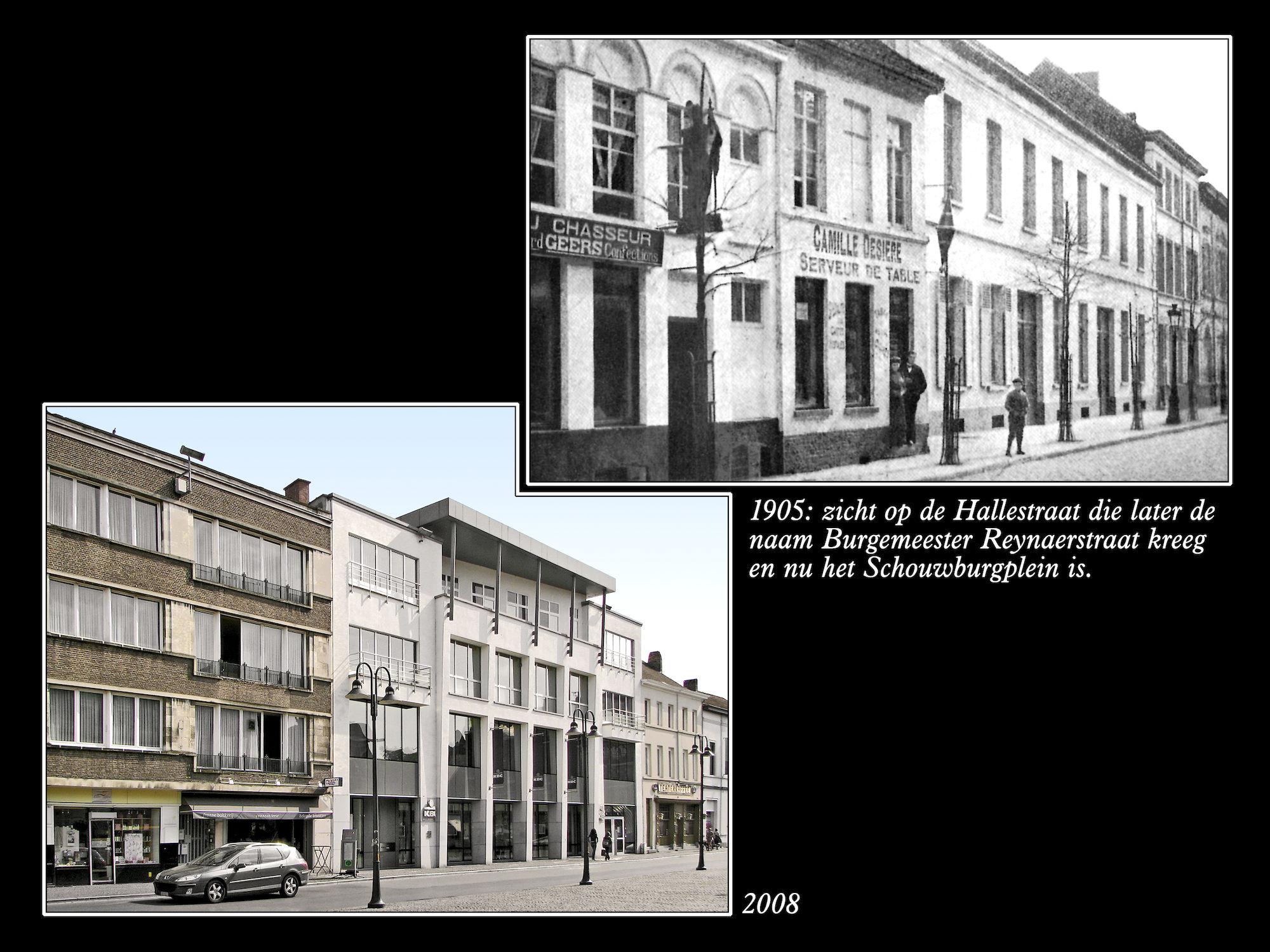 Schouwburgplein anno 1905 en 2008