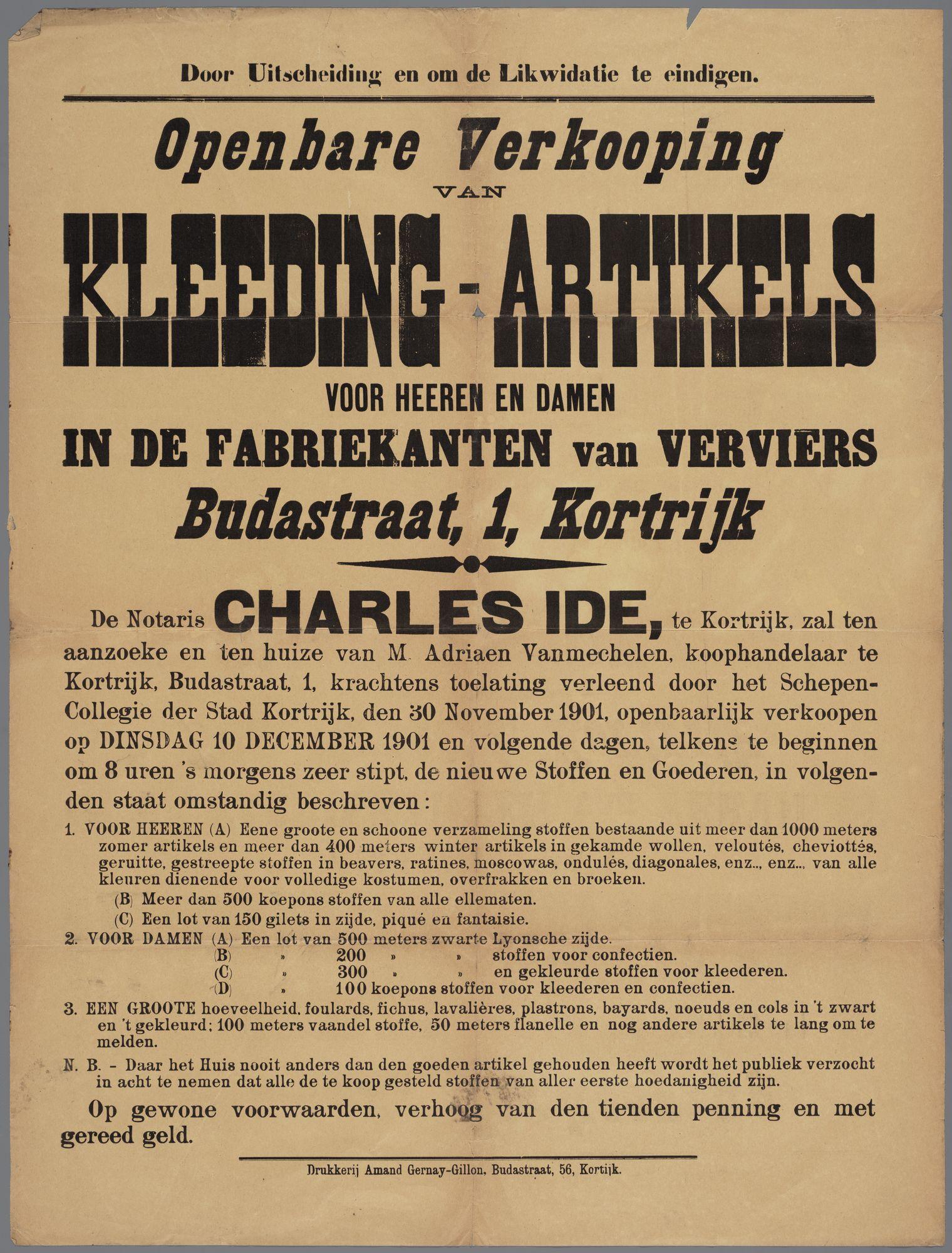 Openbare verkoop van kleding 1901
