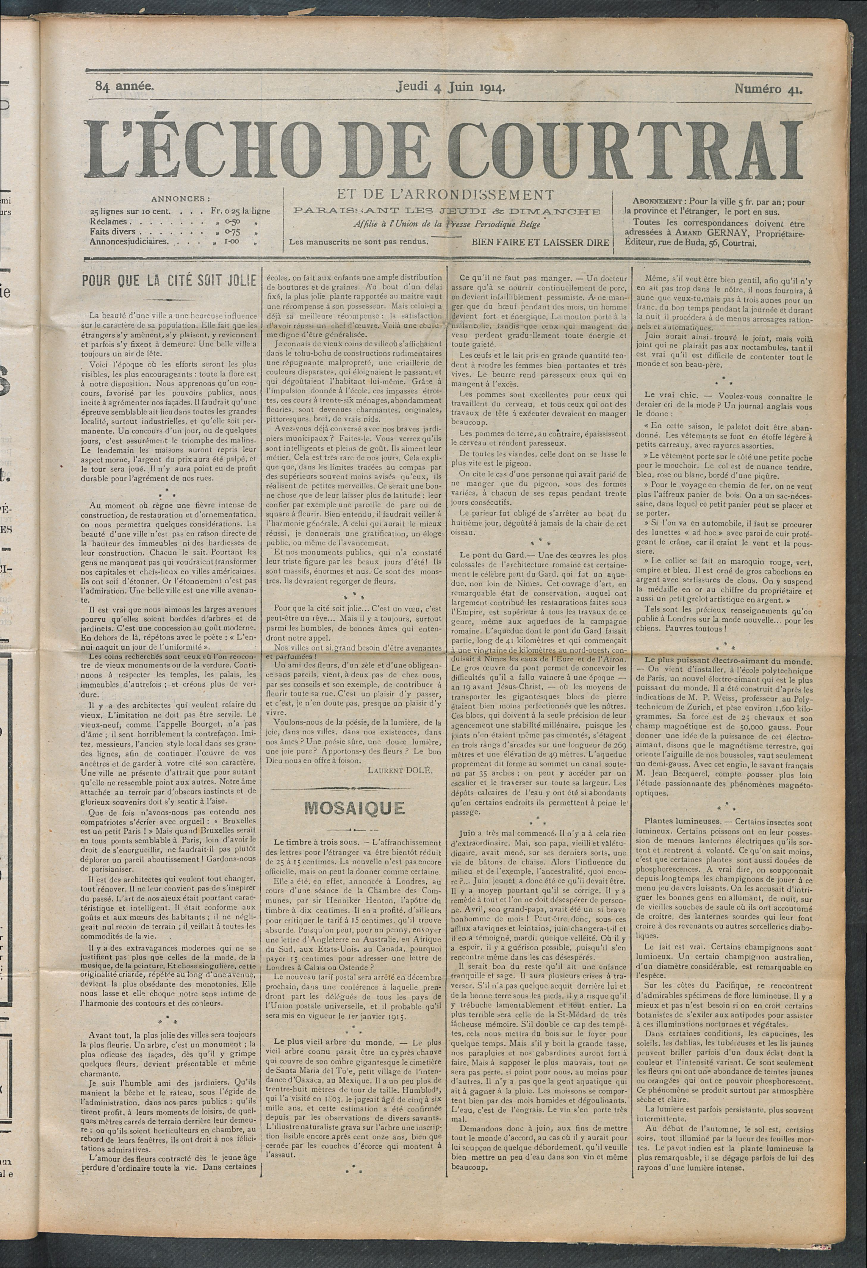 L'echo De Courtrai 1914-06-04 p1